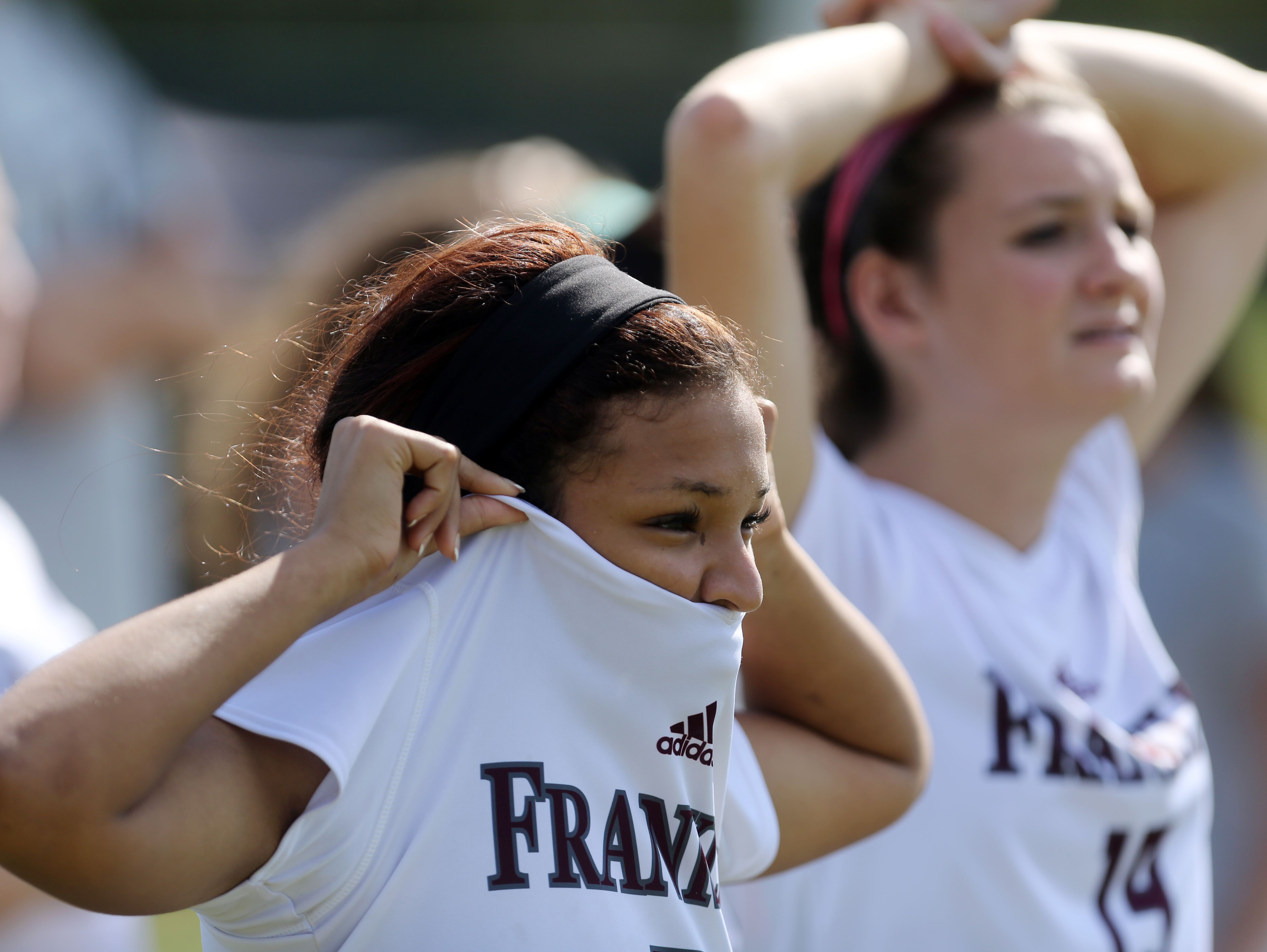 Franklin's Emily McCord and Jessica Bissinger watch as their team attempts to tie the game in the closing seconds of their Class AAA Soccer Championship game against Clarksville Saturday October 29, 2016 at Richard Siegel Soccer Complex in Murfreesboro.