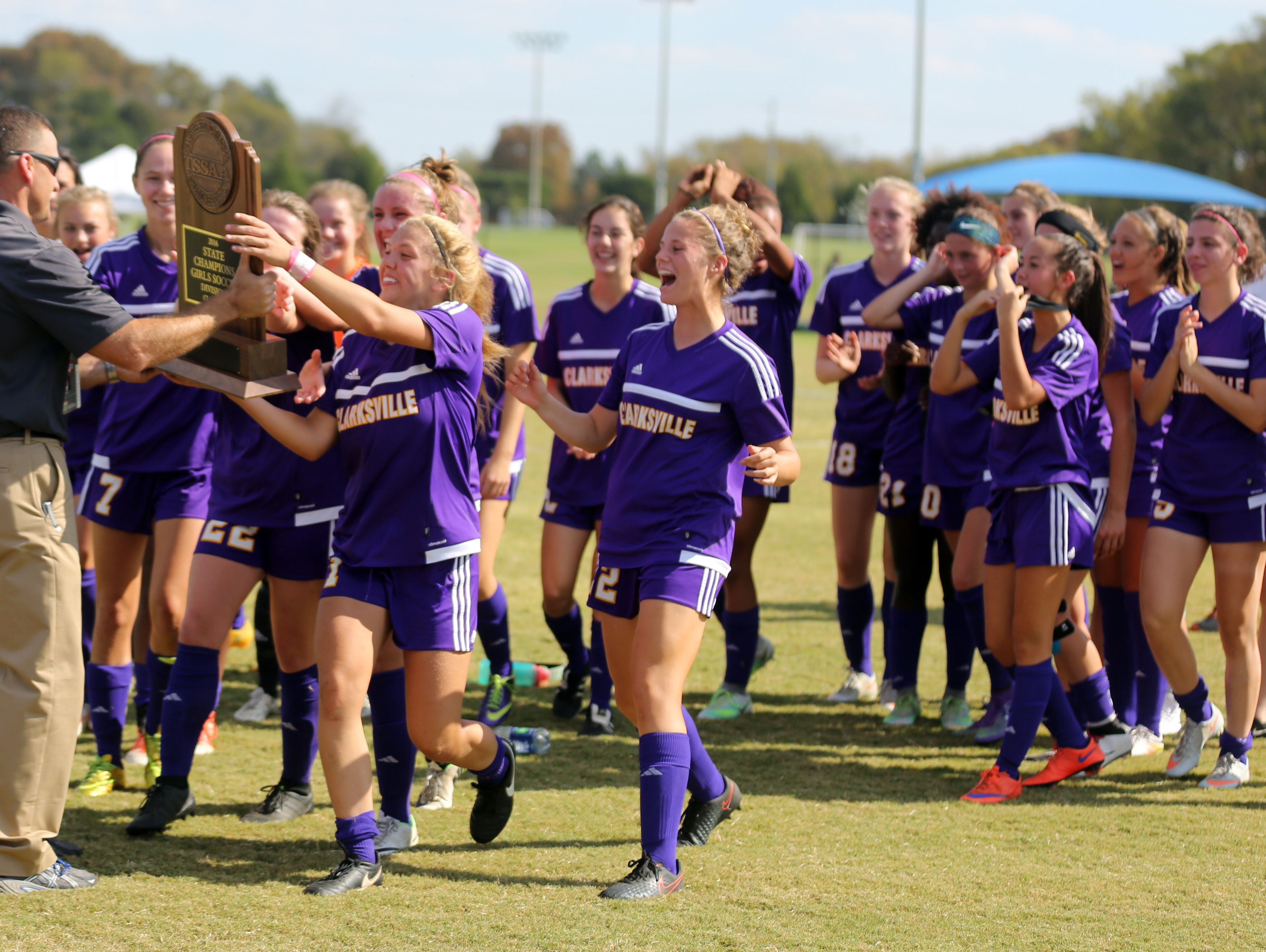 Clarksville receives their trophy after beating Franklin 1-0 in the Class AAA Soccer Championship game Saturday October 29, 2016 at Richard Siegel Soccer Complex in Murfreesboro.