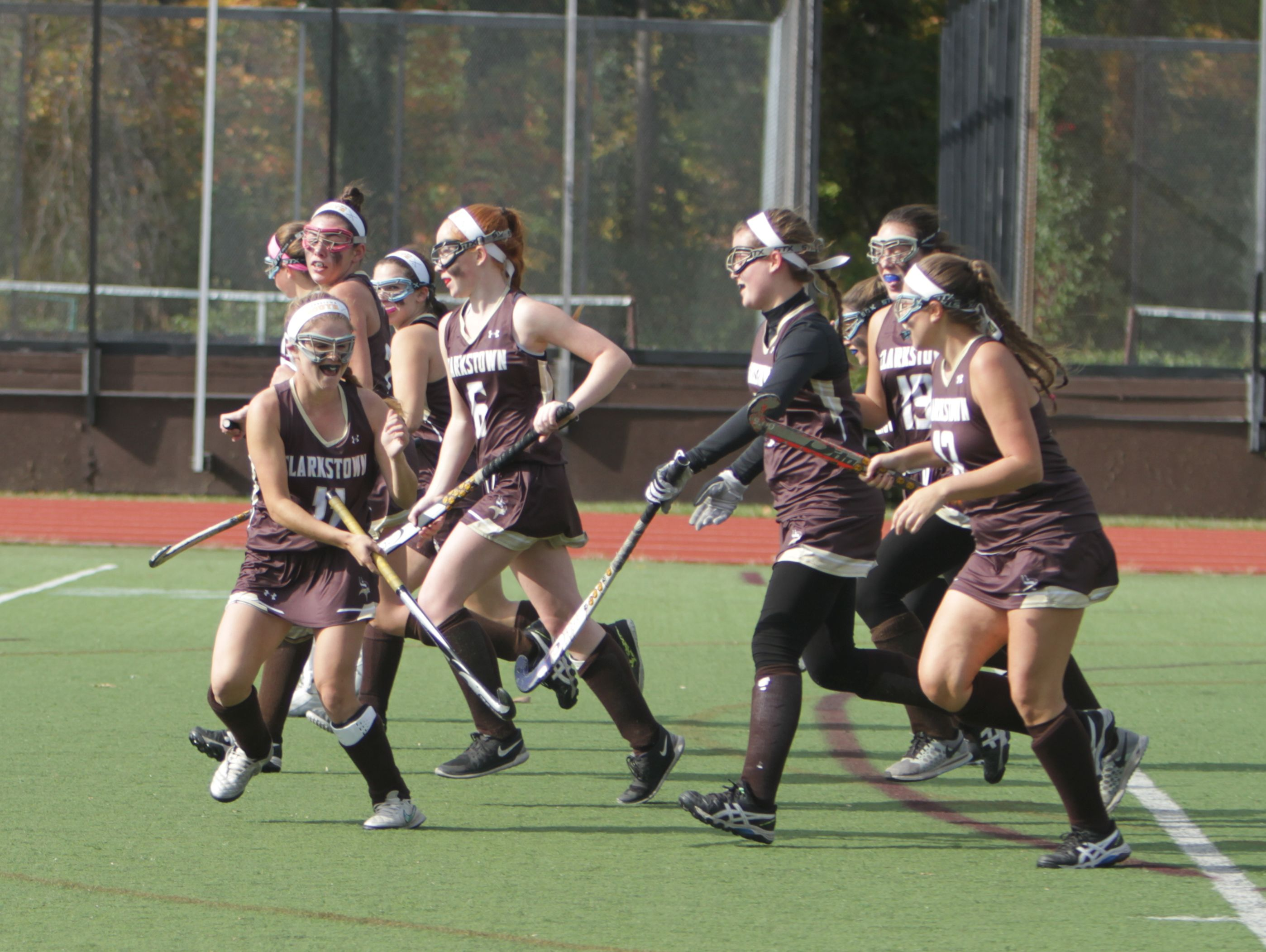 Clarkstown South celebrates after a goal from Jenna Rogers ties the game 1-1 during the first half of a Section 1, Class A field hockey semifinal game between Scarsdale and Clarkstown South at Scarsdale High School on Saturday, Oct. 29, 2016. Scarsdale won 7-1.