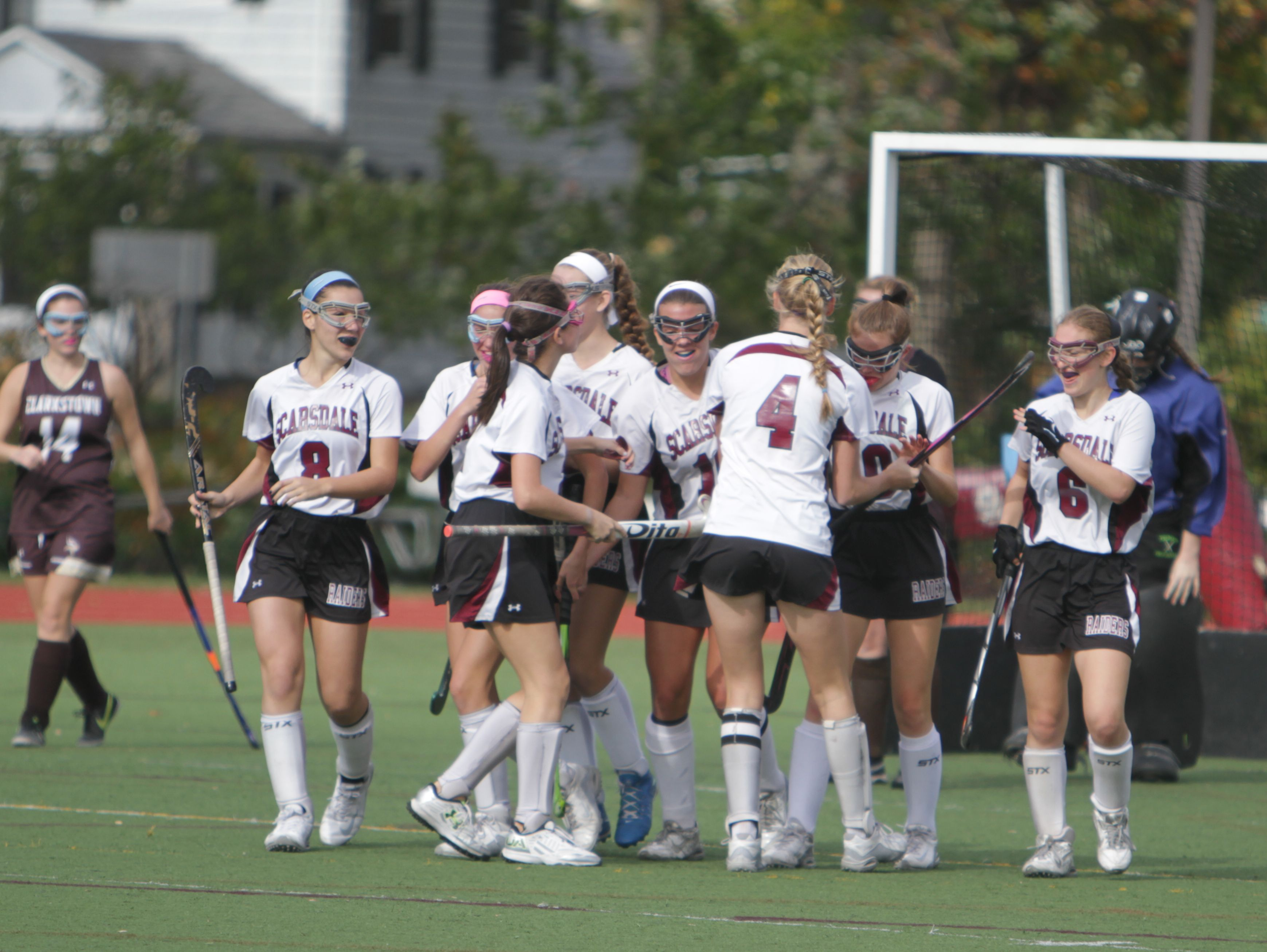 Scarsdale celebrates after a goal from Erin Nicholas put the Raiders up 3-1 during a Section 1, Class A field hockey semifinal game between Scarsdale and Clarkstown South at Scarsdale High School on Saturday, Oct. 29, 2016. Scarsdale won 7-1.