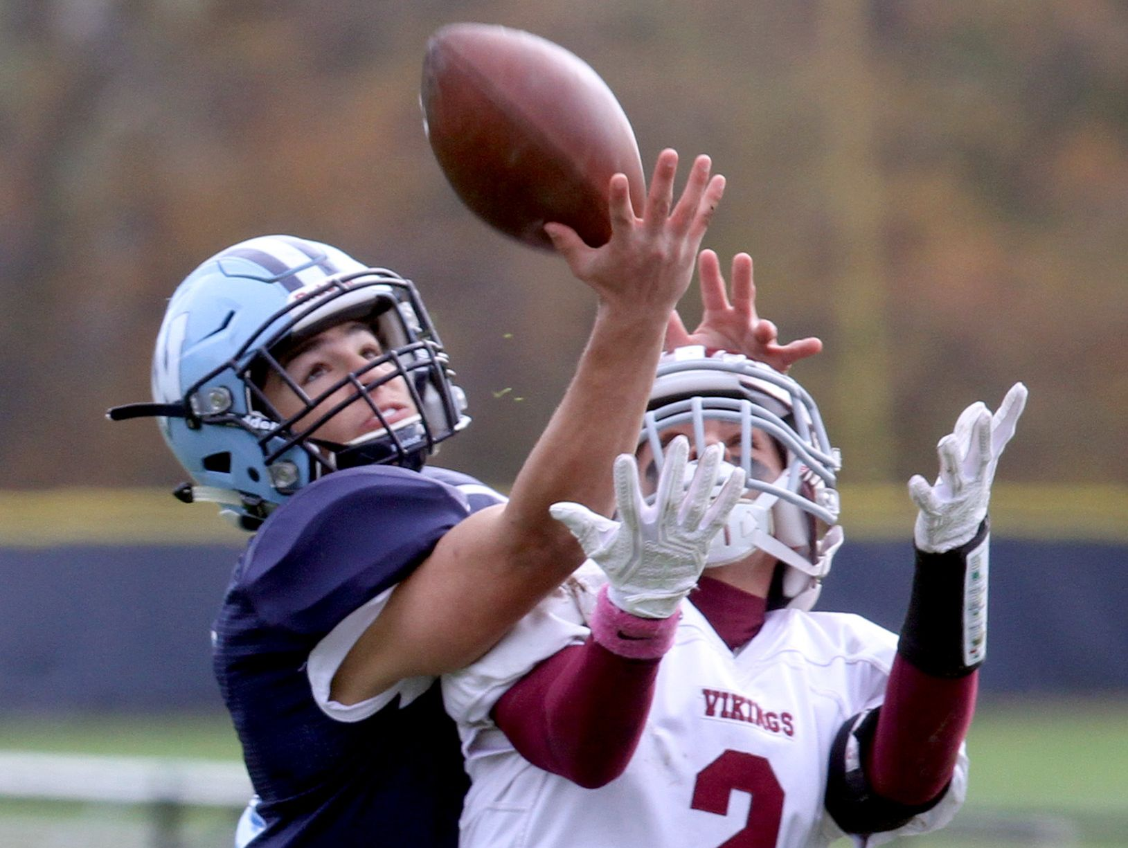 Westlake's Robert DiNota breaks up a pass intended for Valhalla's Michael Ferrara during a Class B semifinal football game at Westlake High School in Thornwood Oct. 29, 2016. DiNota had three interceptions as Westlake defeated Valhalla 35-3.