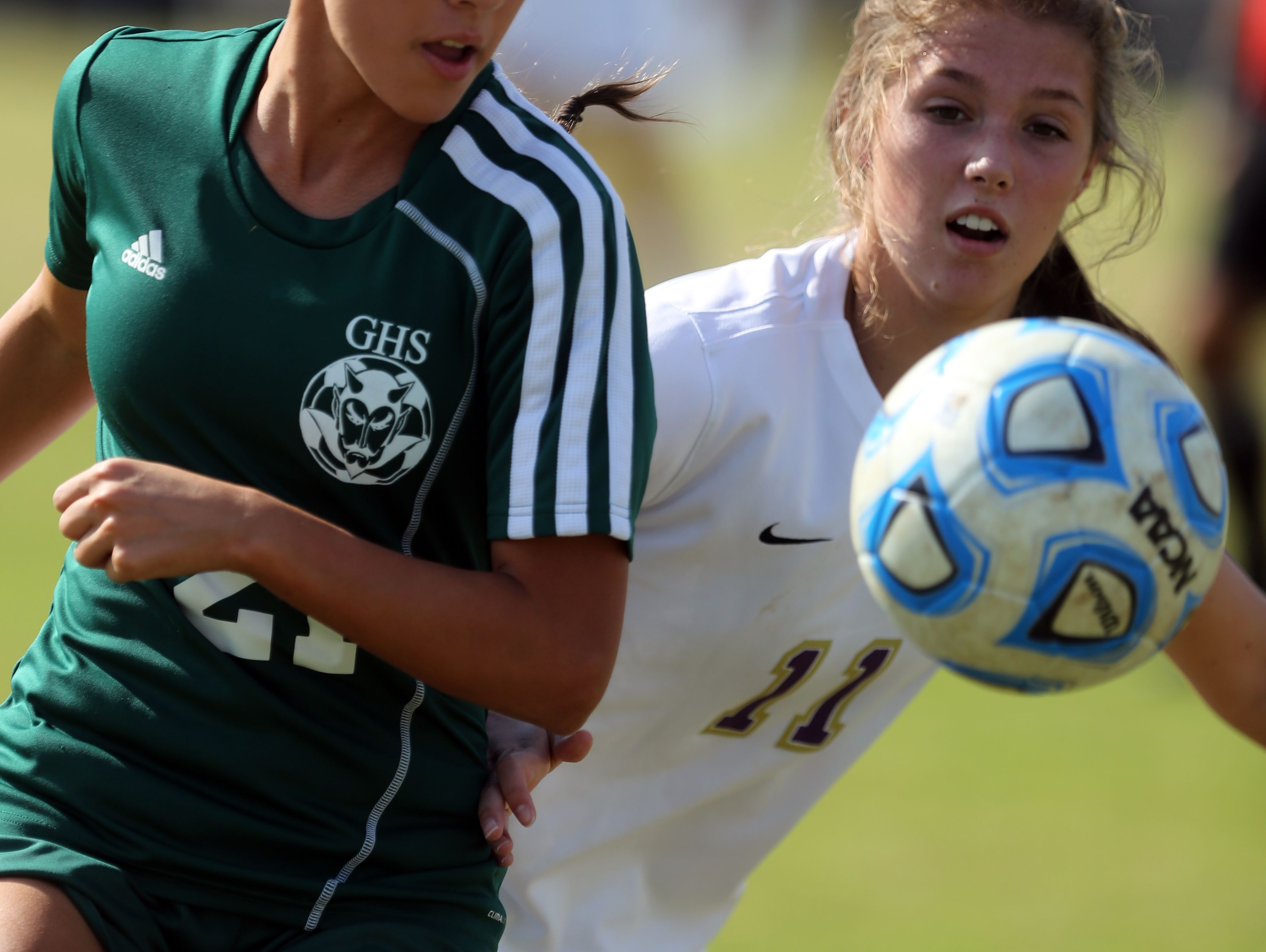 Greeneville's Katherine Galoffin and CPA's Vayle McKay compete for the ball during their Class A/AA Soccer Championship game Saturday October 29, 2016 at Richard Siegel Soccer Complex in Murfreesboro.