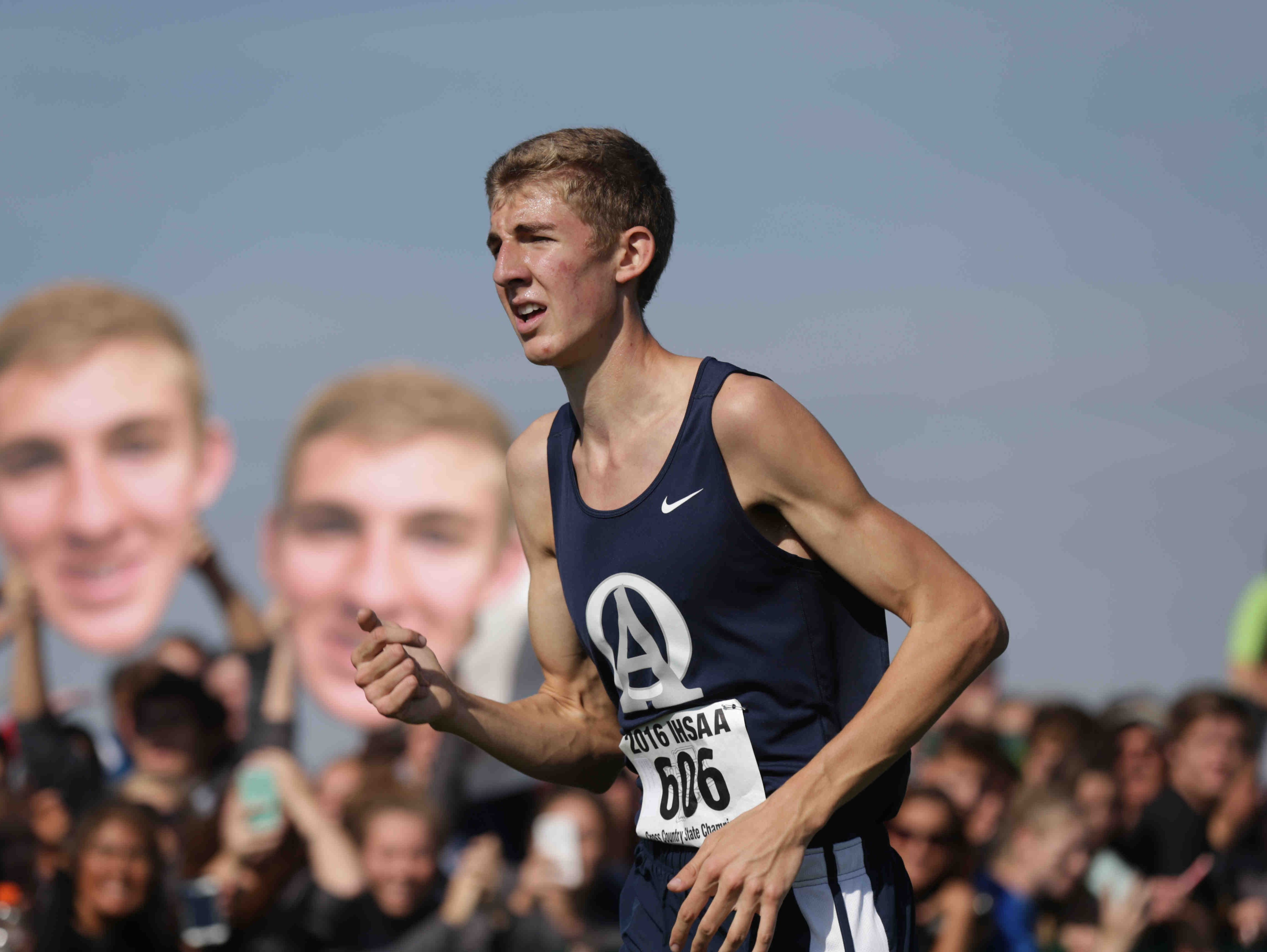 Oldenburg Academy's Curtis Eckstein improved on his third place finish from a year ago by winning the boys race Saturday.