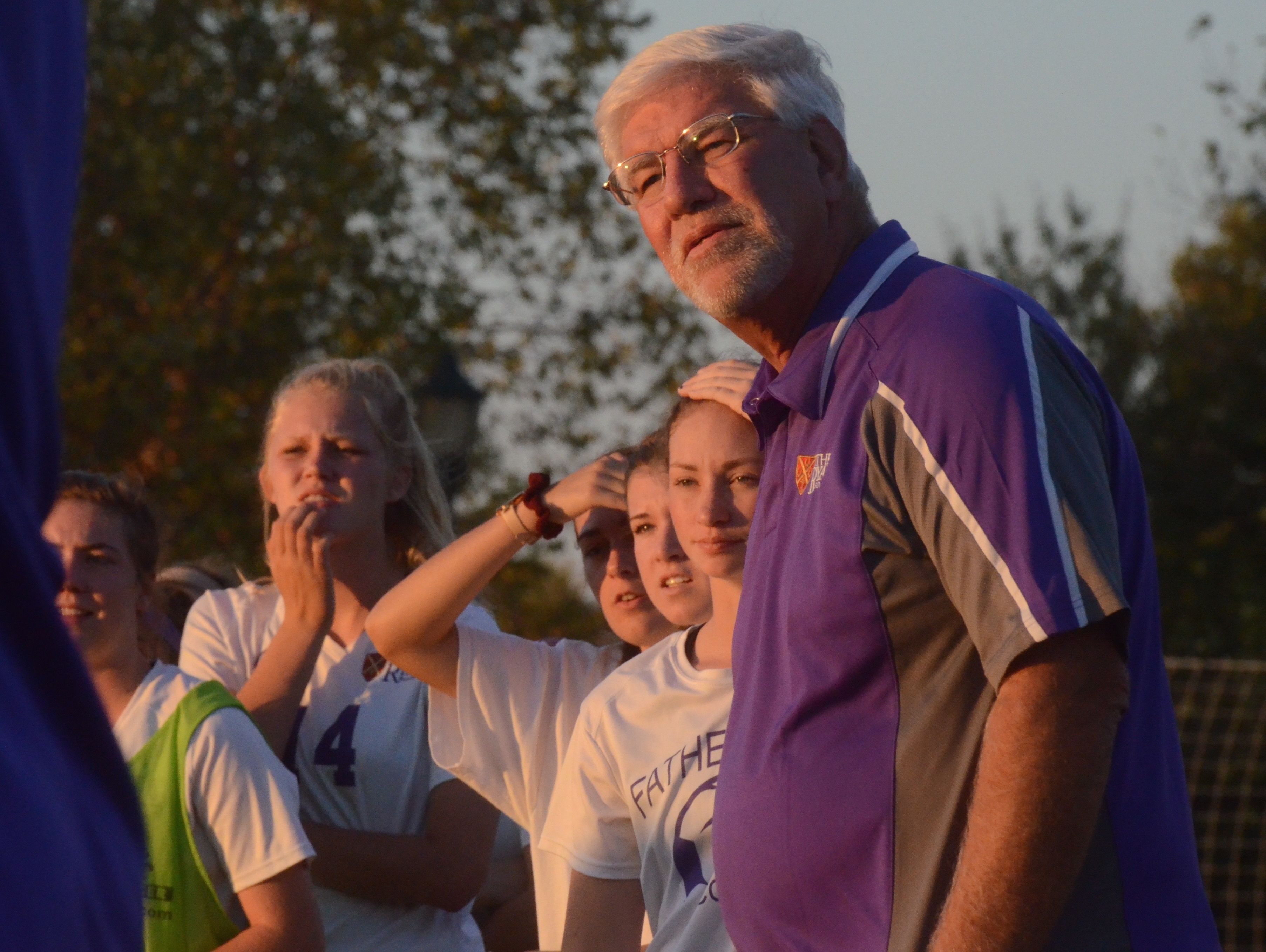 Father Ryan coach Robin Dieterich and the Lady Irish sweat out the final minutes of Saturday's 1-0 championship win over Ensworth.