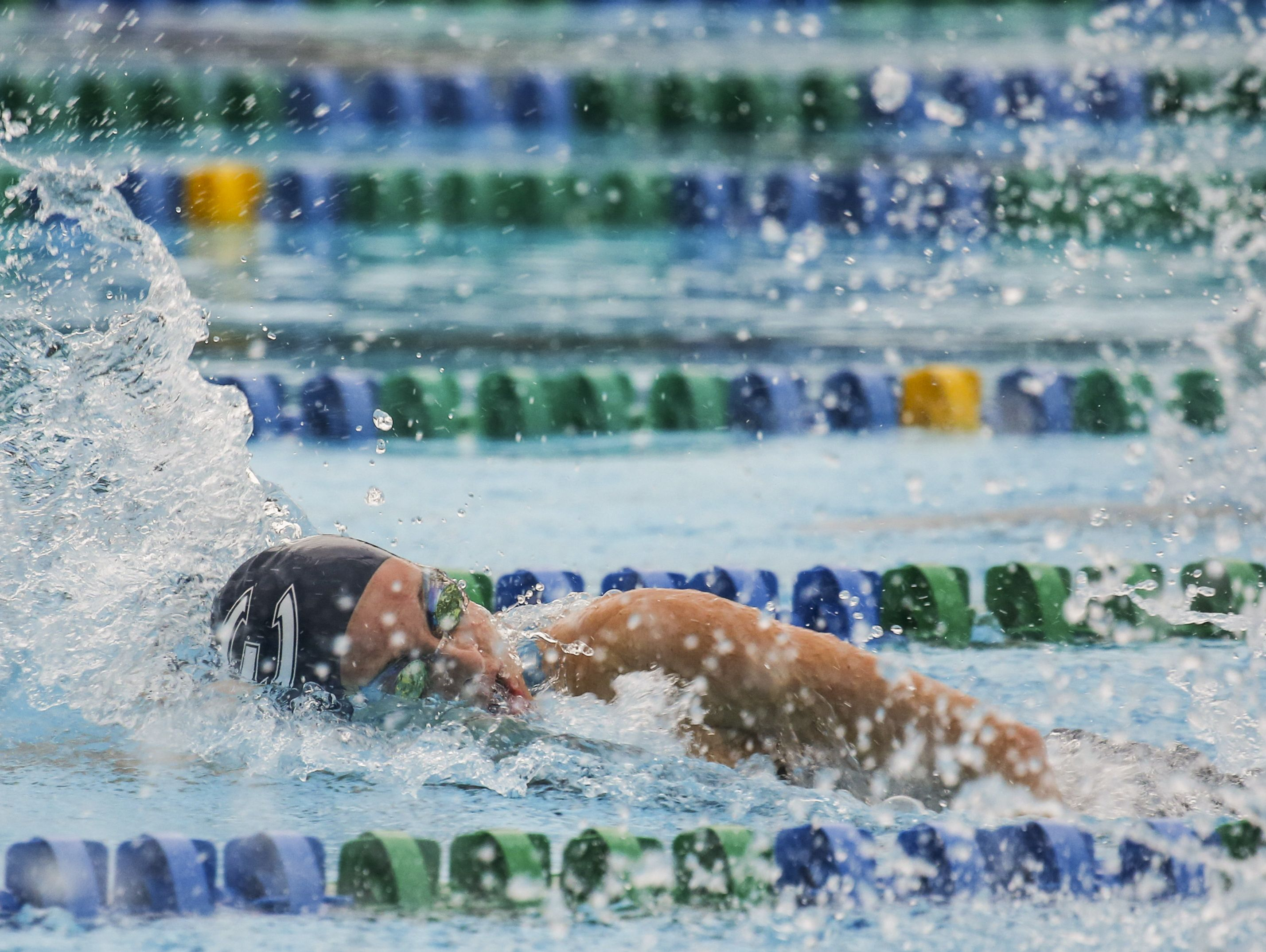 Estero's Alyson Currao placed 5th in the third heat of the 50 Yard Freestyle during the Region 3A-3 swimming at FGCU Aquatic Center.