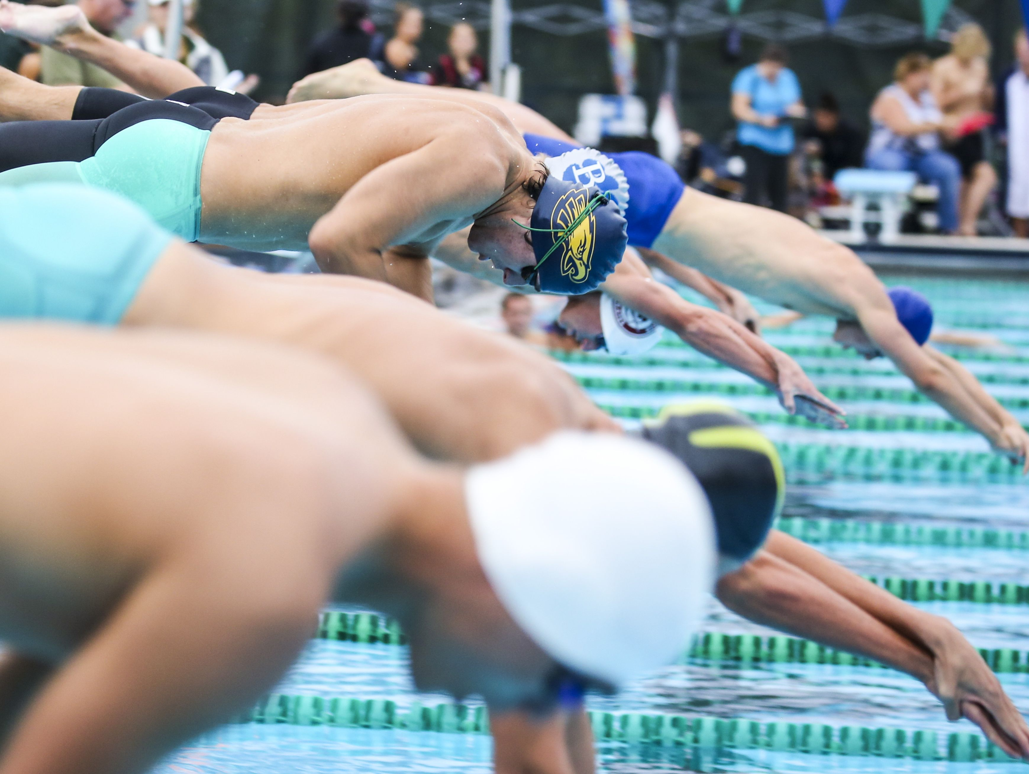 Naples, John Scanlon takes off in the third heat of the 200 yard freestyle during the Region 3A-3 swimming at FGCU Aquatic Center.