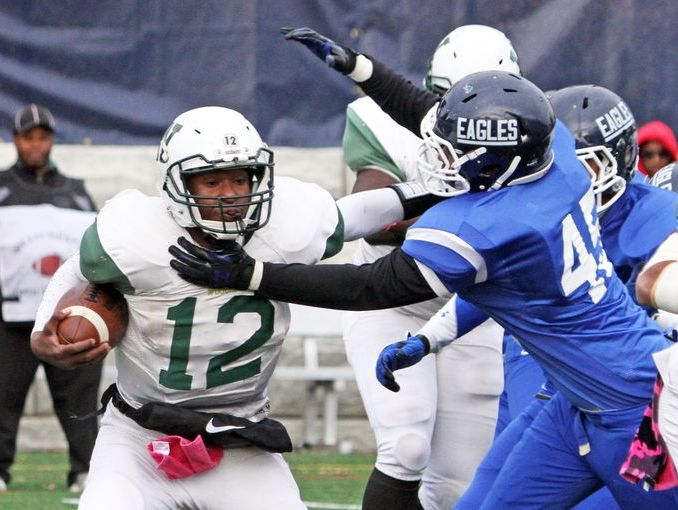 Woodlands quarterback Amari Bilal, pictured during last year's Class C championship game vs. Dobbs Ferry, will miss the rematch after he was ejected during the semifinal on Oct. 29, 2016.
