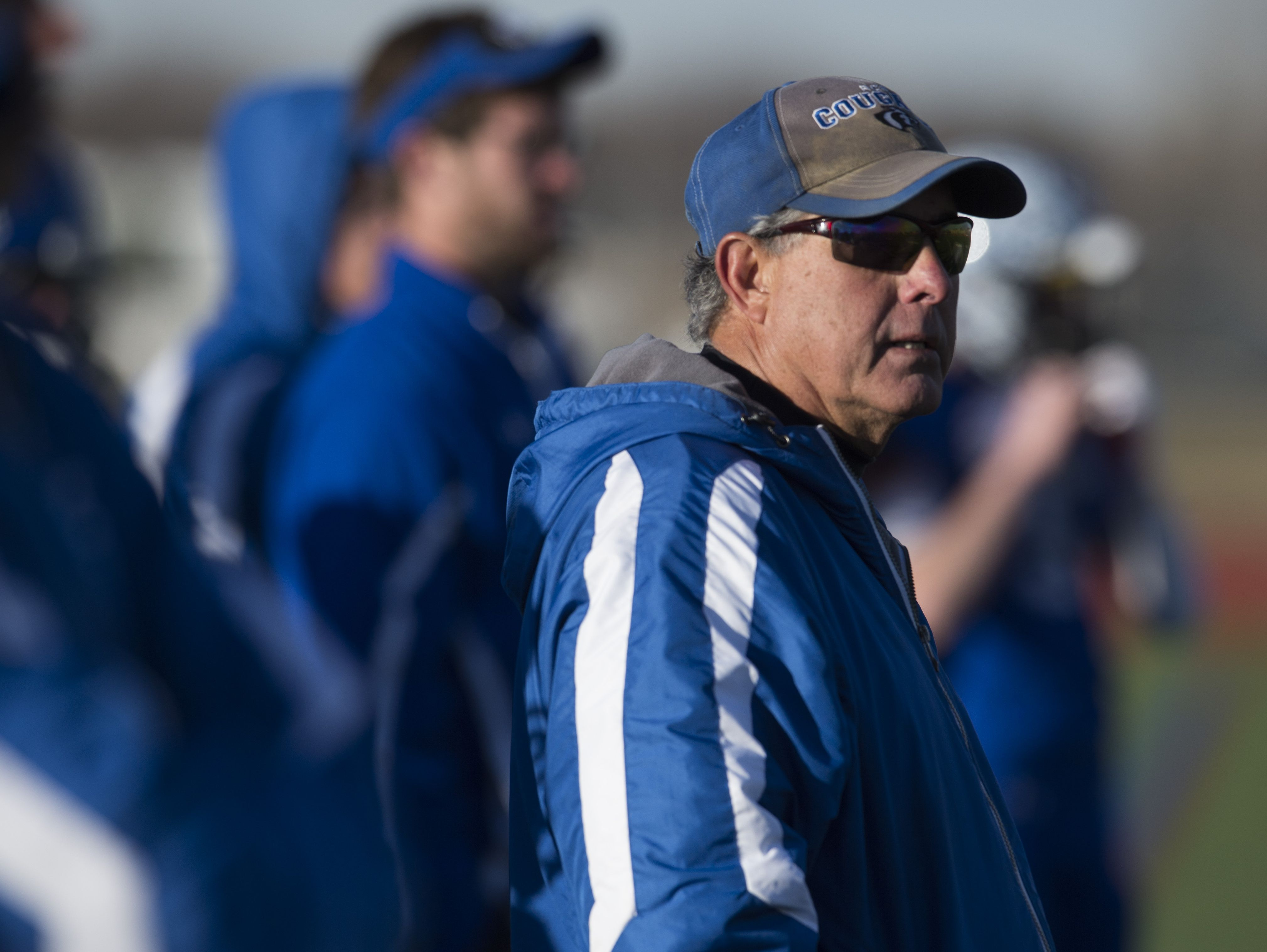Resurrection Christian football coach Mark Roggy in a game last season. The Cougars are the No. 2 seed in the Class 2A playoffs and will host Platte Valley at 7 p.m. Friday.