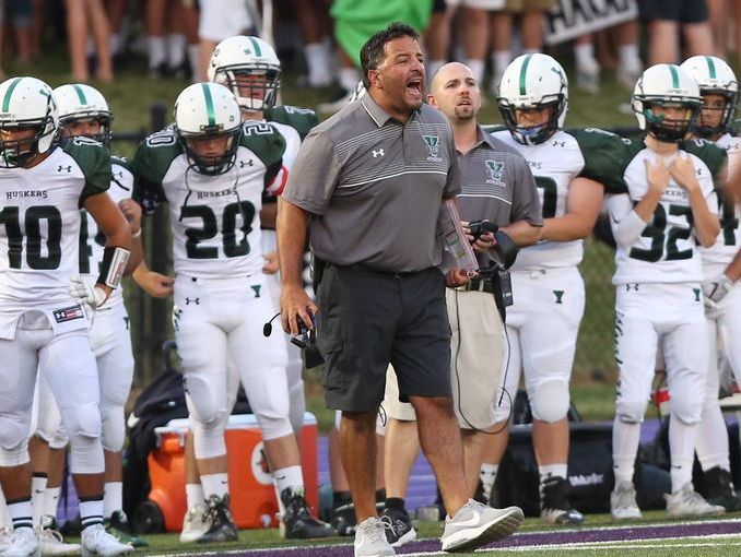 Yorktown coach Mike Rescigno, pictured during his team's win at John Jay High School on Sept. 2, 2016, was named the Week 9 Coach of the Week.