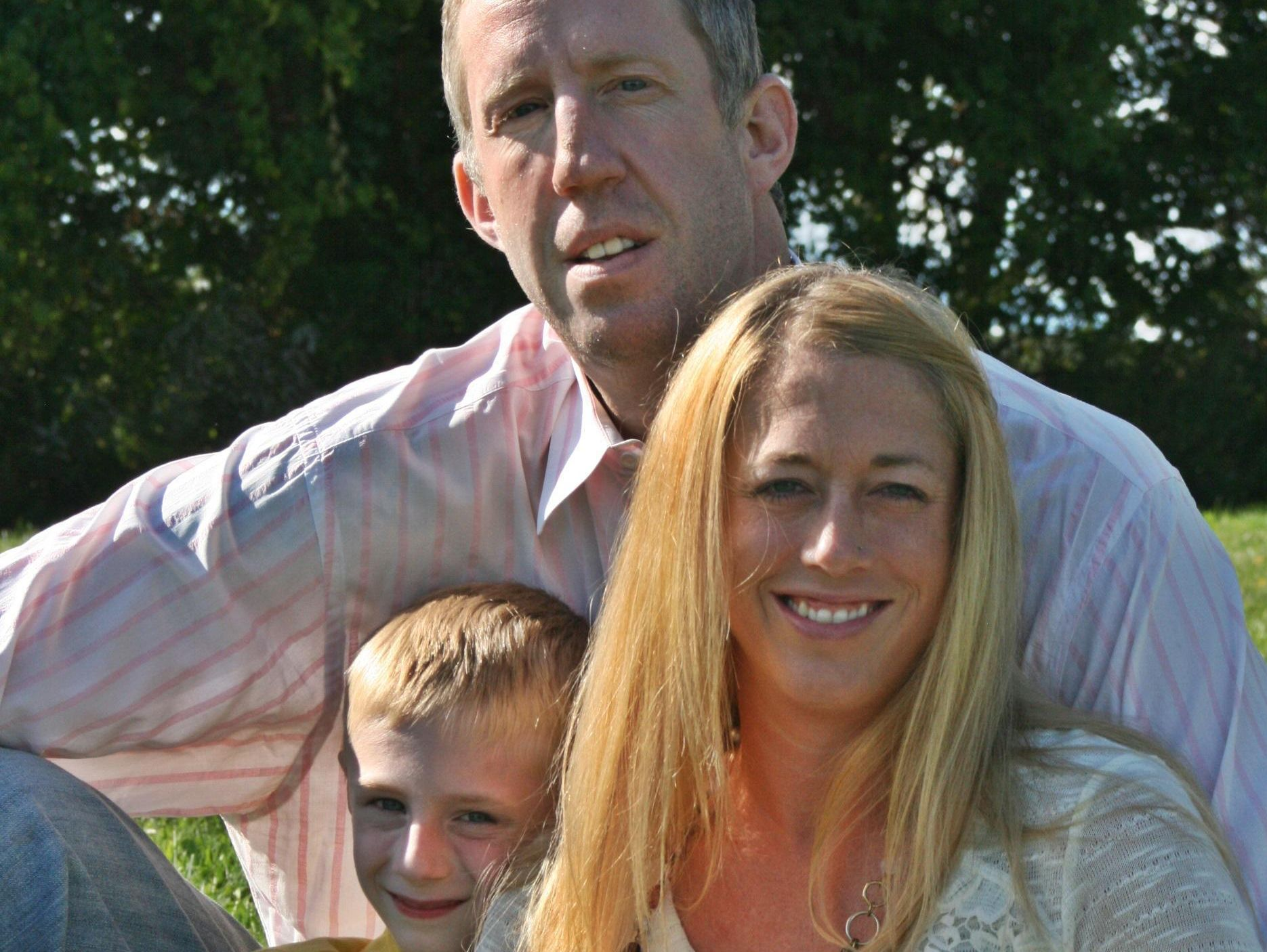 Nate Huffman with his wife, Michelle, and his son, Christian. Huffman, a Lakeview graduate who played in the NBA, died of cancer in October of 2015.