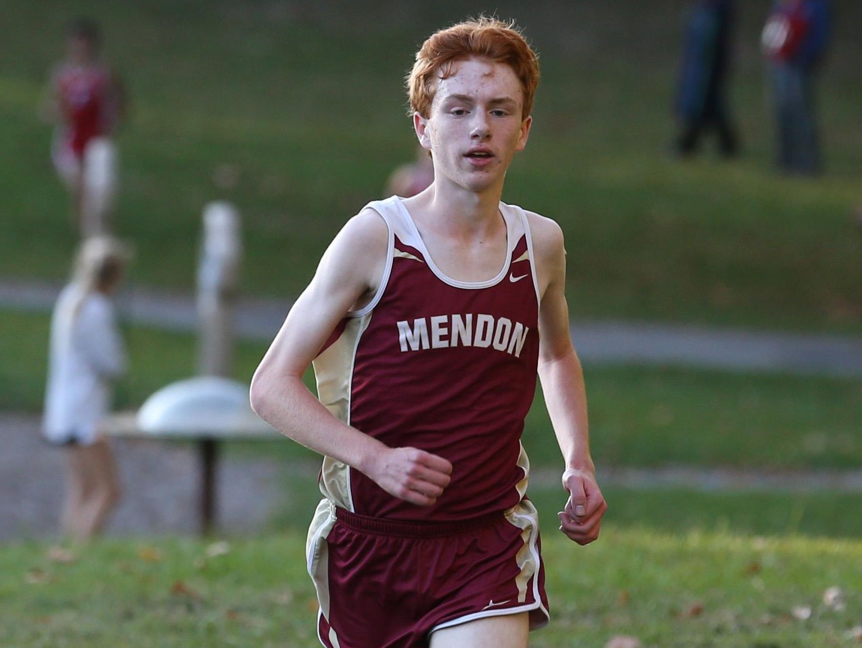 Nathan Lawler, Pittsford Mendon, races to the finish line as he wins the boys race during the Section V cross country meet at Mendon Ponds Park in Mendon on Thursday.