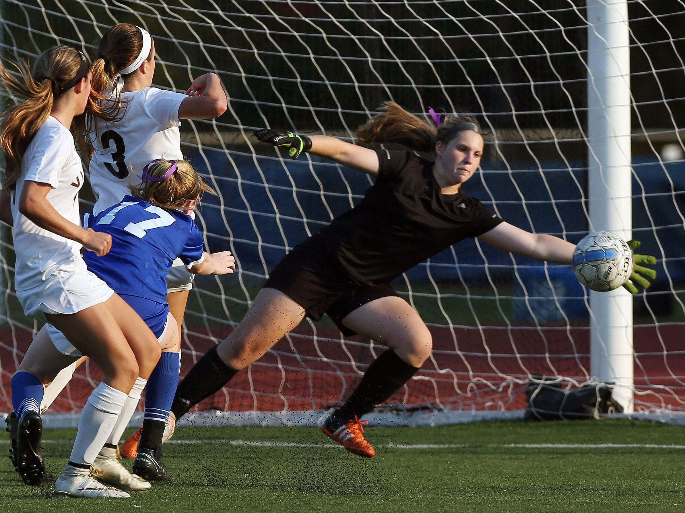 Pirates keeper Katherine Carstenson makes a save during Tuesday's game. Clarkstown South and Pearl River played to a 0-0 tie at Clarkstown South High School in West Nyack.