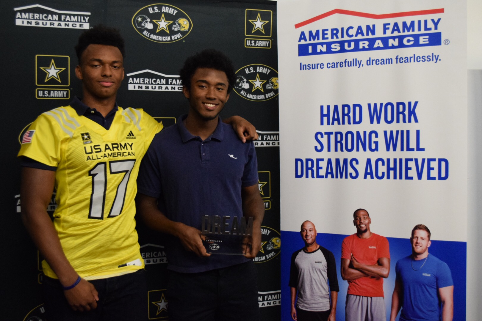 Addison Gumbs presents his American Family Insurance Dream Champion award to his brother, Chandler (Photo: U.S. Army All-American Bowl)