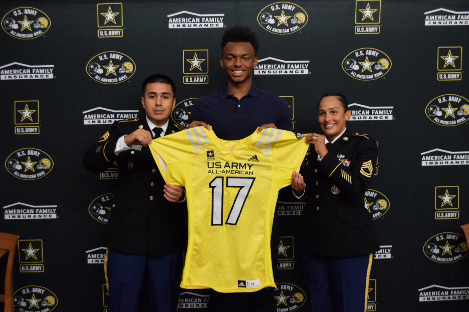Addison Gumbs receives his honorary U.S. Army All-American Bowl jersey (Photo: U.S. Army All-American Bowl)