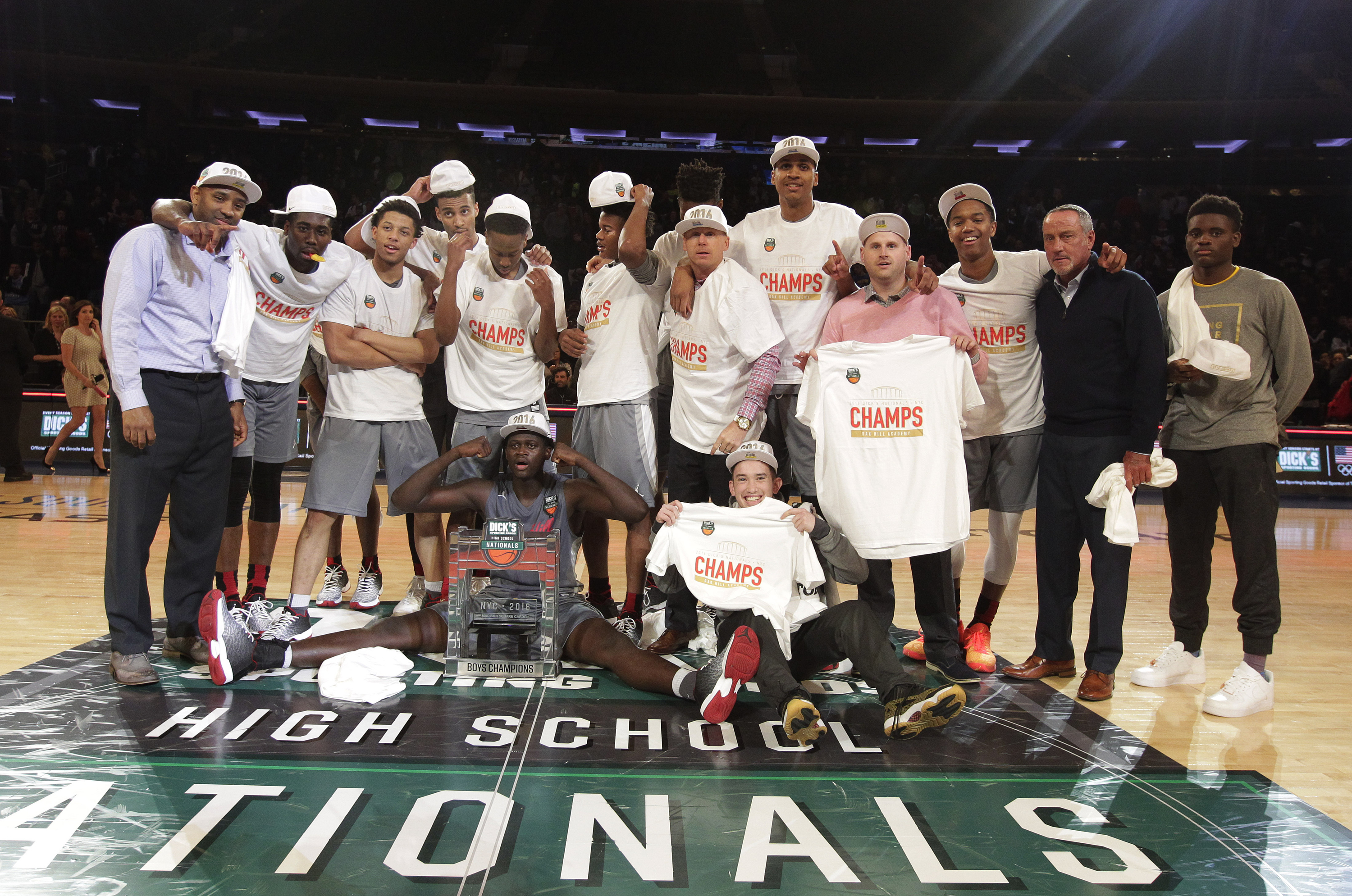 4/2/2016 12:00PM -- Middle Village, NY, U.S.A -- Oak Hill Academy poses for a team photo after defeating La Lumiere 62-60 in overtime to win the national championship during Dick's Sporting Goods High School Basketball Nationals at Madison Square Garden -- Photo by Andy Marlin USA TODAY Sports Images, Gannett ORG XMIT: US 134676 Dick's basketbal 4/1/2016 [Via MerlinFTP Drop]