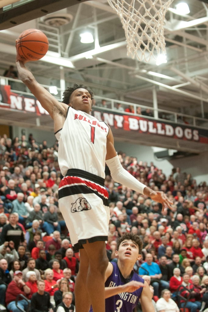 New Albany guard-forward Romeo Langford beats Bloomington South guard Leal Anthony to the basket on a fast break - David Lutman/Special to The Courier-Journal (26 November 2016)