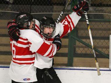 Hilton hockey's Frank Gaffney celebrates a goal.