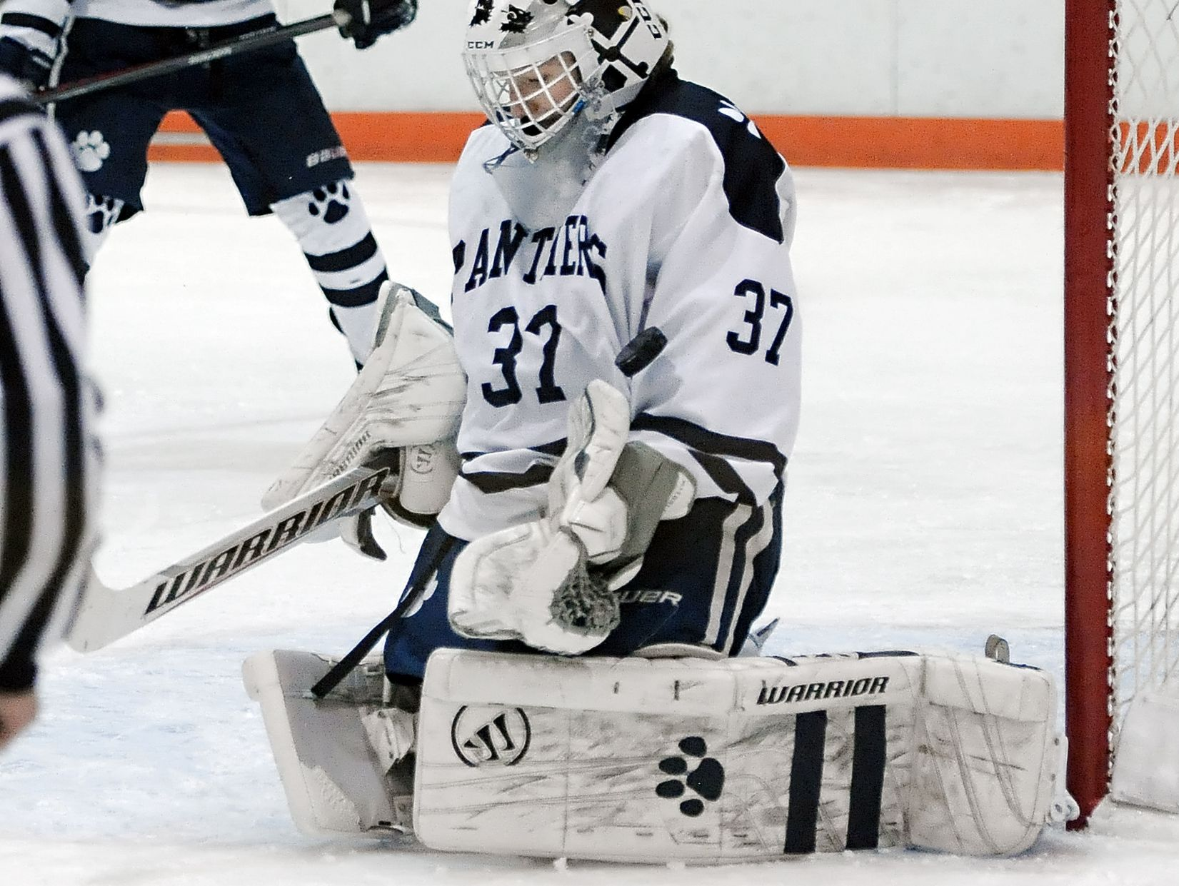 Pittsford goalie Aidan Richardson makes a save during regular season game played at RIT's Ritter Ice Arena on Tuesday, January 13, 2015. Pittsford beat Victor 5-2.