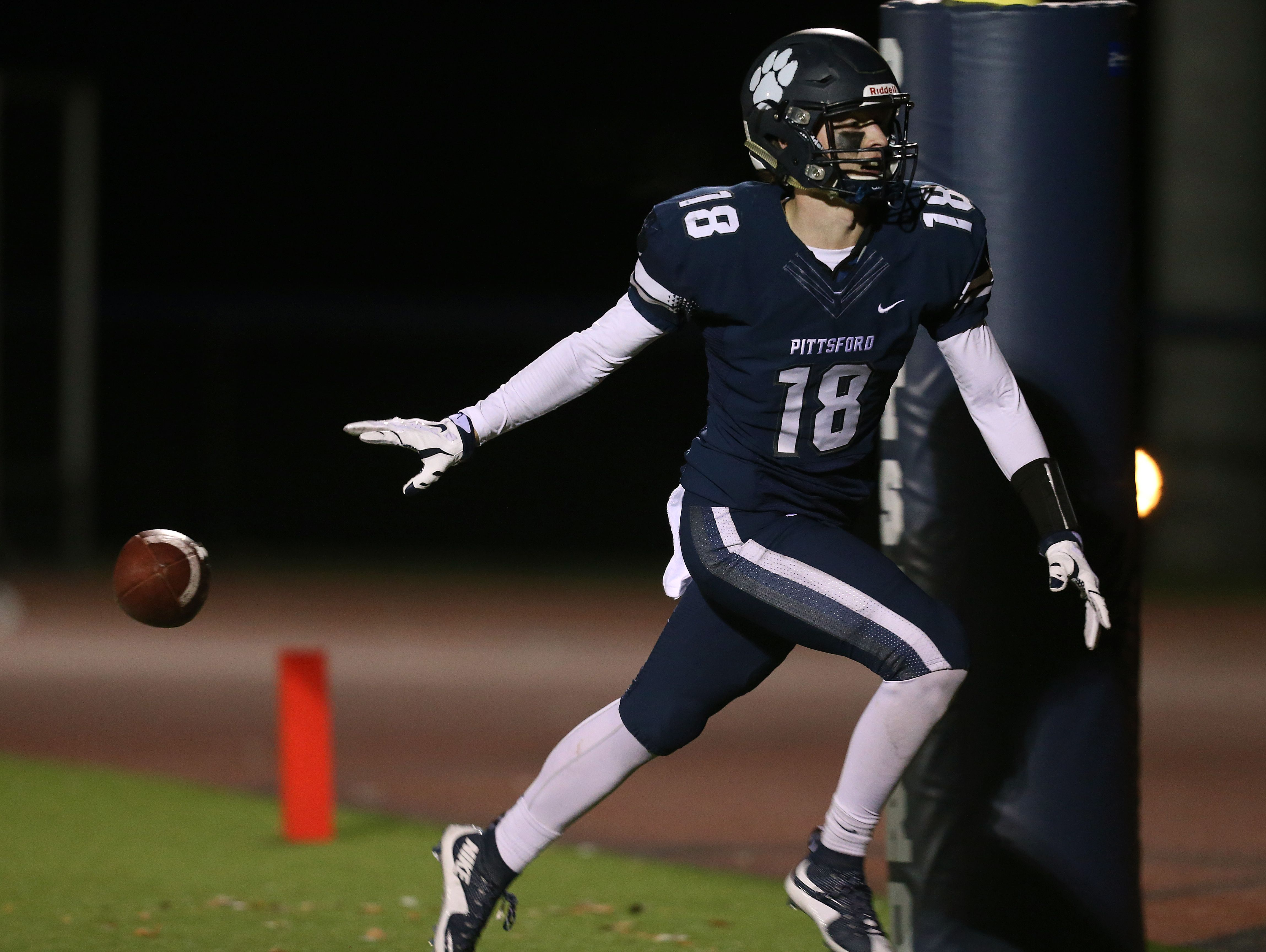 Pittsford senior Colby Barker, at receiver last season for the Panthers during the Section V Class AA Tournament, is the team's quarterback this fall.