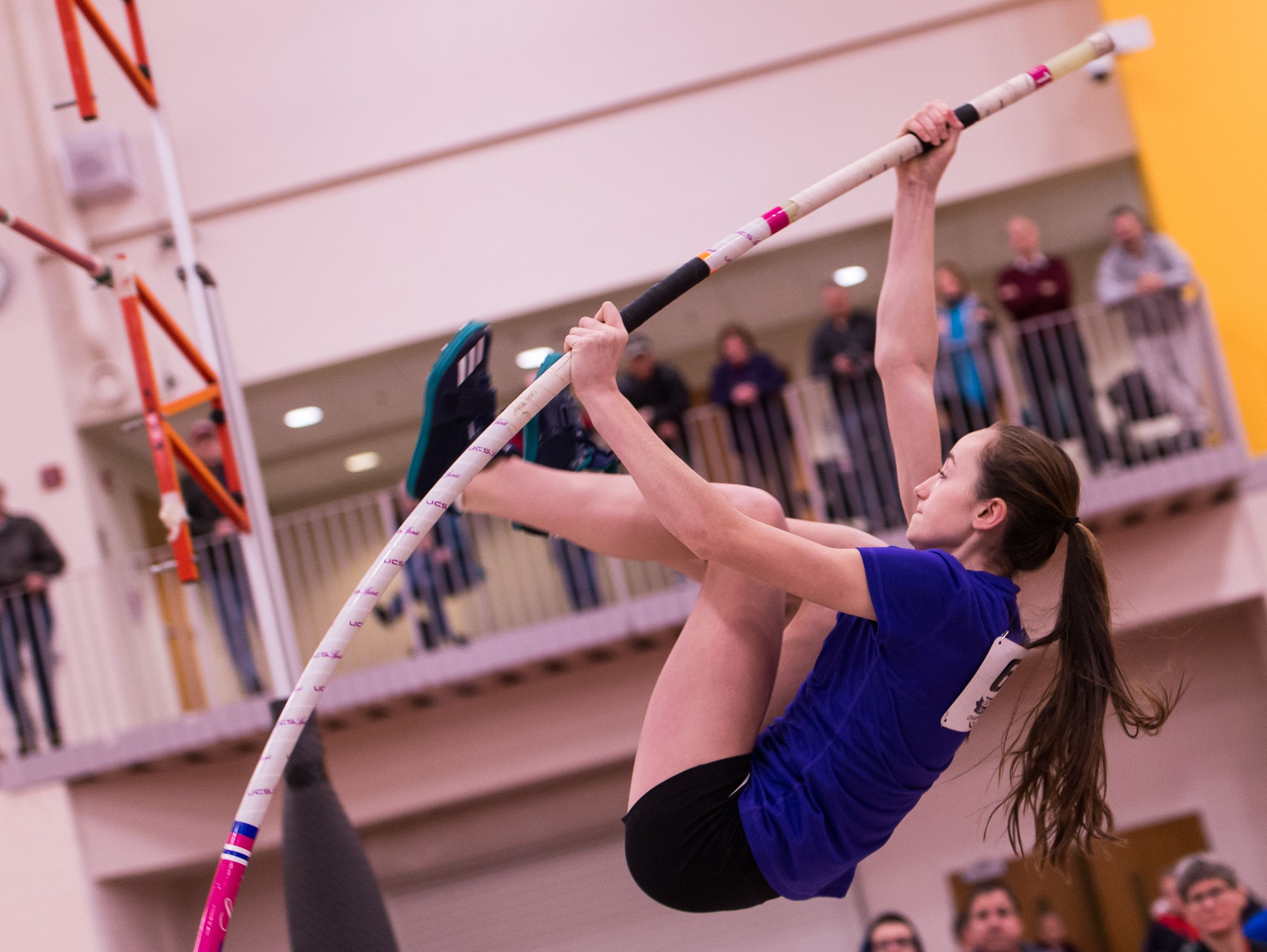 Gates Chili freshman Erica Ellis, shown here competing indoors in December, cleared 12 feet, 8 inches on Saturday night to break the Section V outdoor record established by Warsaw's Karmen Auble in 2011.