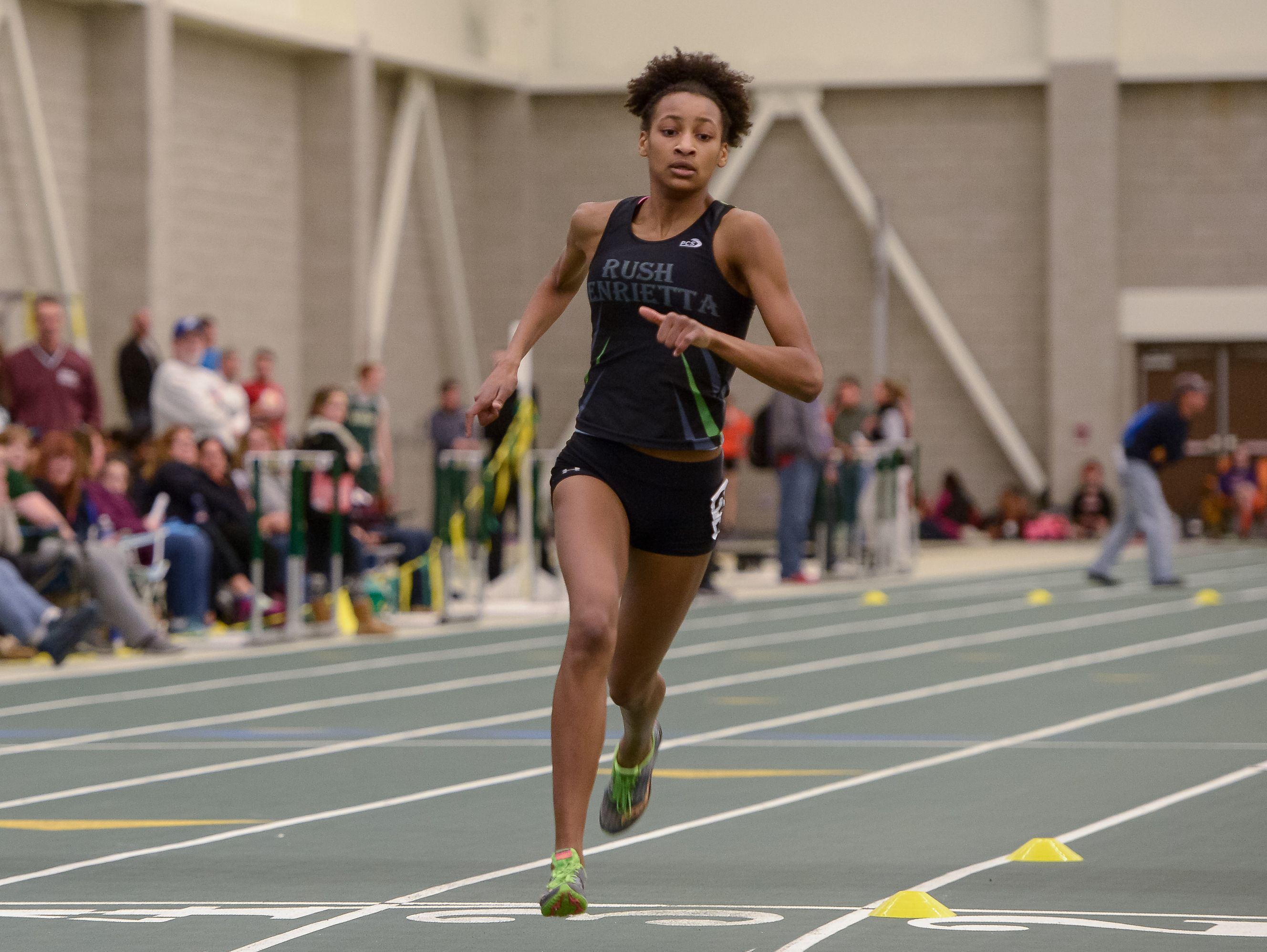 Rush-Henrietta's Sammy Watson runs in the 600 meters during an indoor track meet at The College at Brockport on Jan. 16, 2016.