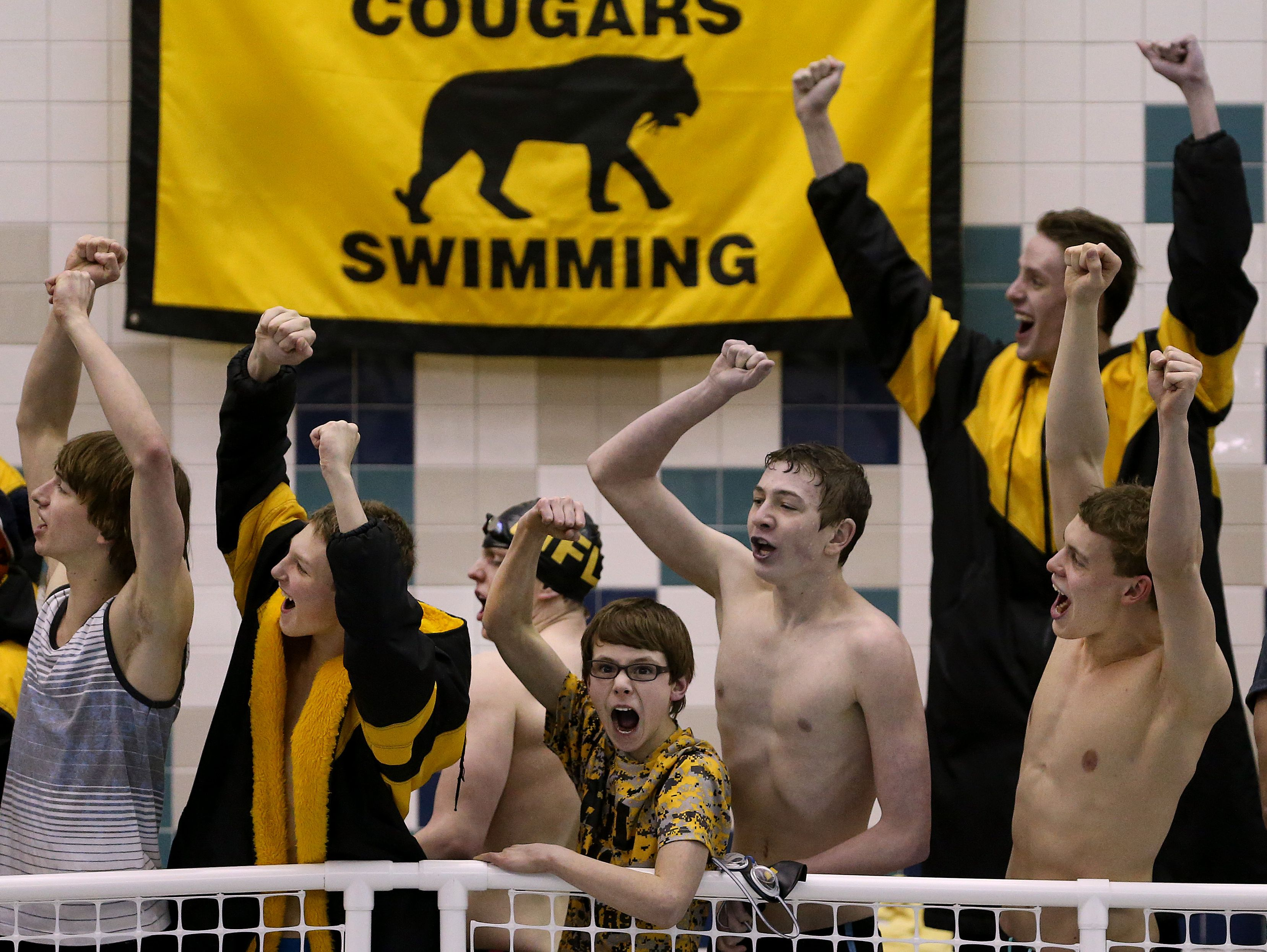Honeyoye Falls-Lima swimmers cheer during the Section V Class B finals.