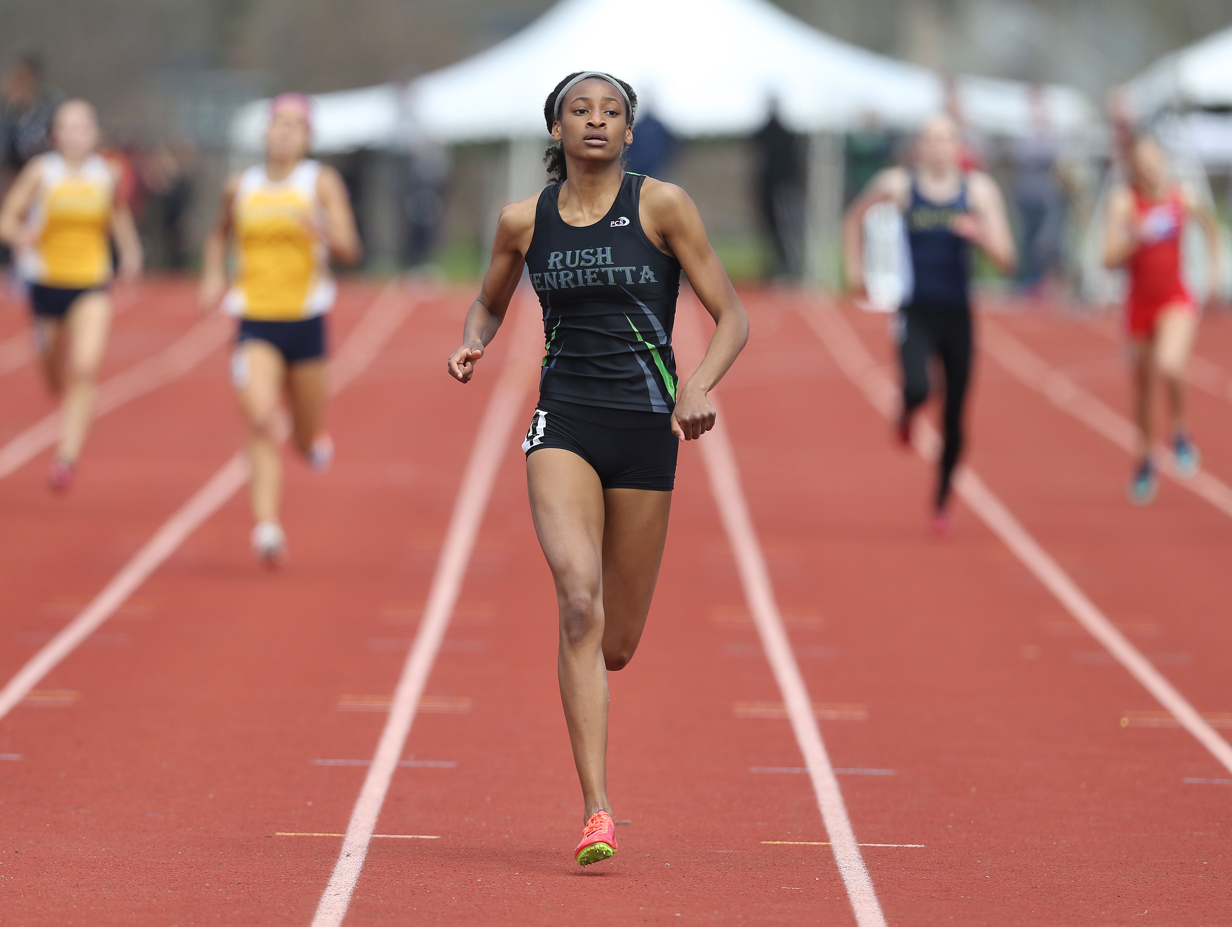 Rush-Henrietta's Sammy Watson, shown here during a meet at Penfield during spring 2016, won the women's 800-meter dash final of the IAAF World U20 Championships on Thursday in Poland