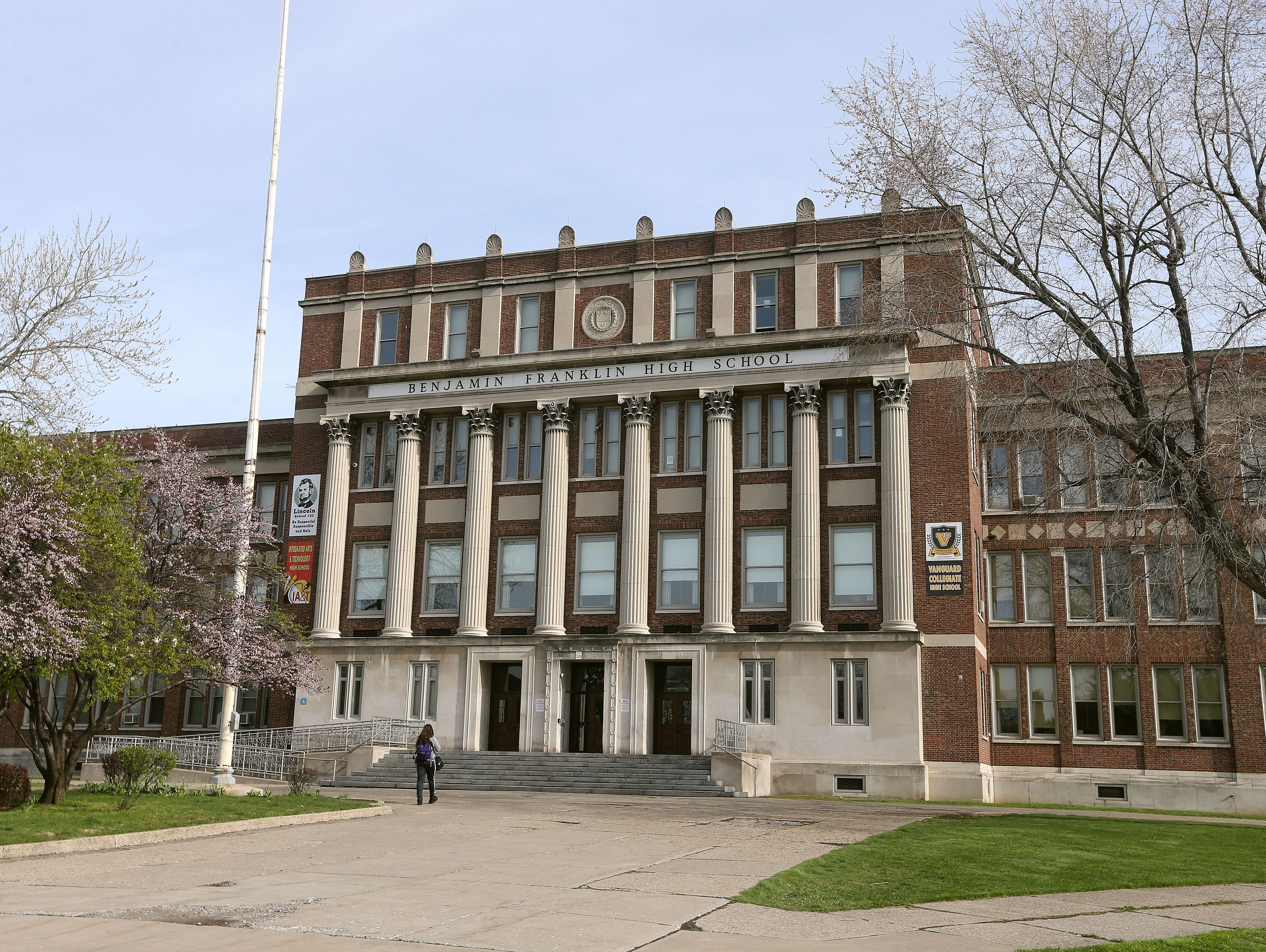 The exterior of Benjamin Franklin High School. .