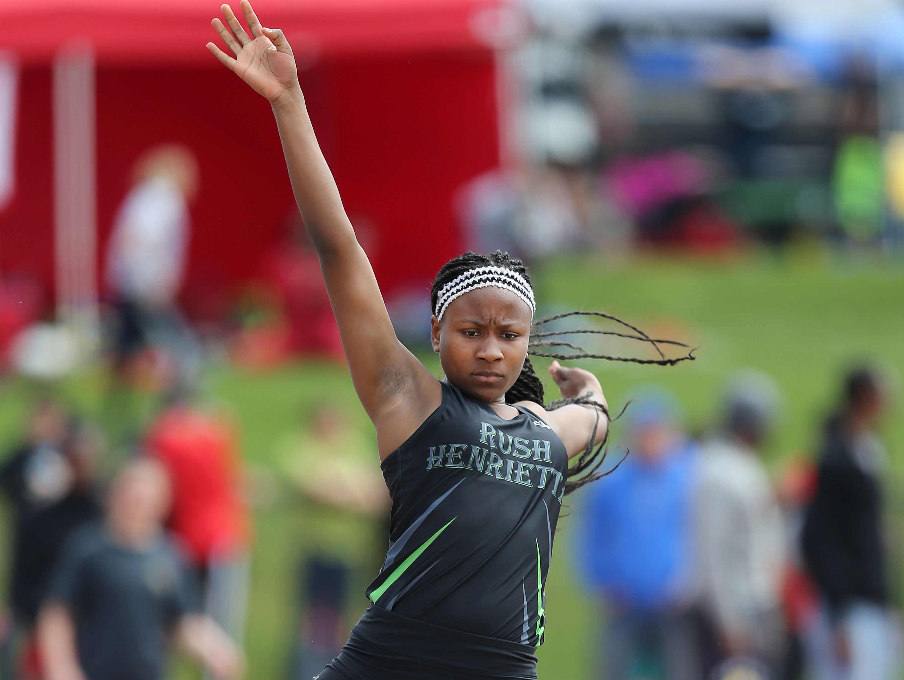 Rush-Henrietta's Lanae-Tava Thomas won the girl's long jump with a jump of 19-06.25 feet at the His and Hers track meet at Penfield High School.