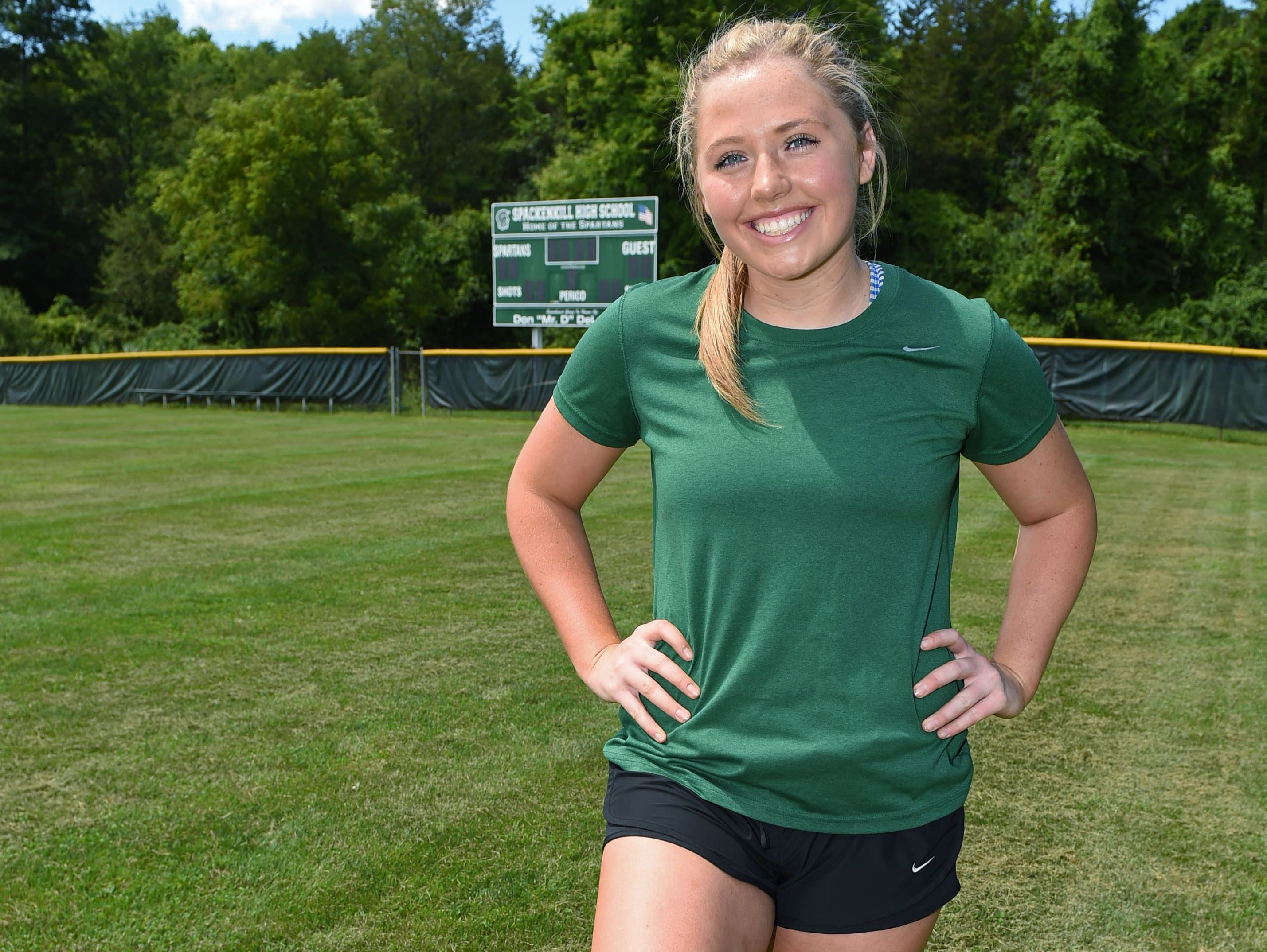 Eileen Fiore poses for a photo at Spackenkill High School on Monday. Fiore tore her ACL in October, 2015 and has been recovering since her surgery in November.