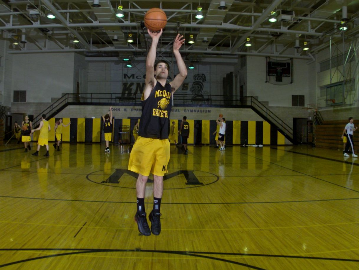 Former McQuaid guard Tyler Relph, a two-time AGR Player of the Year, puts up a shot during practice in 2001.