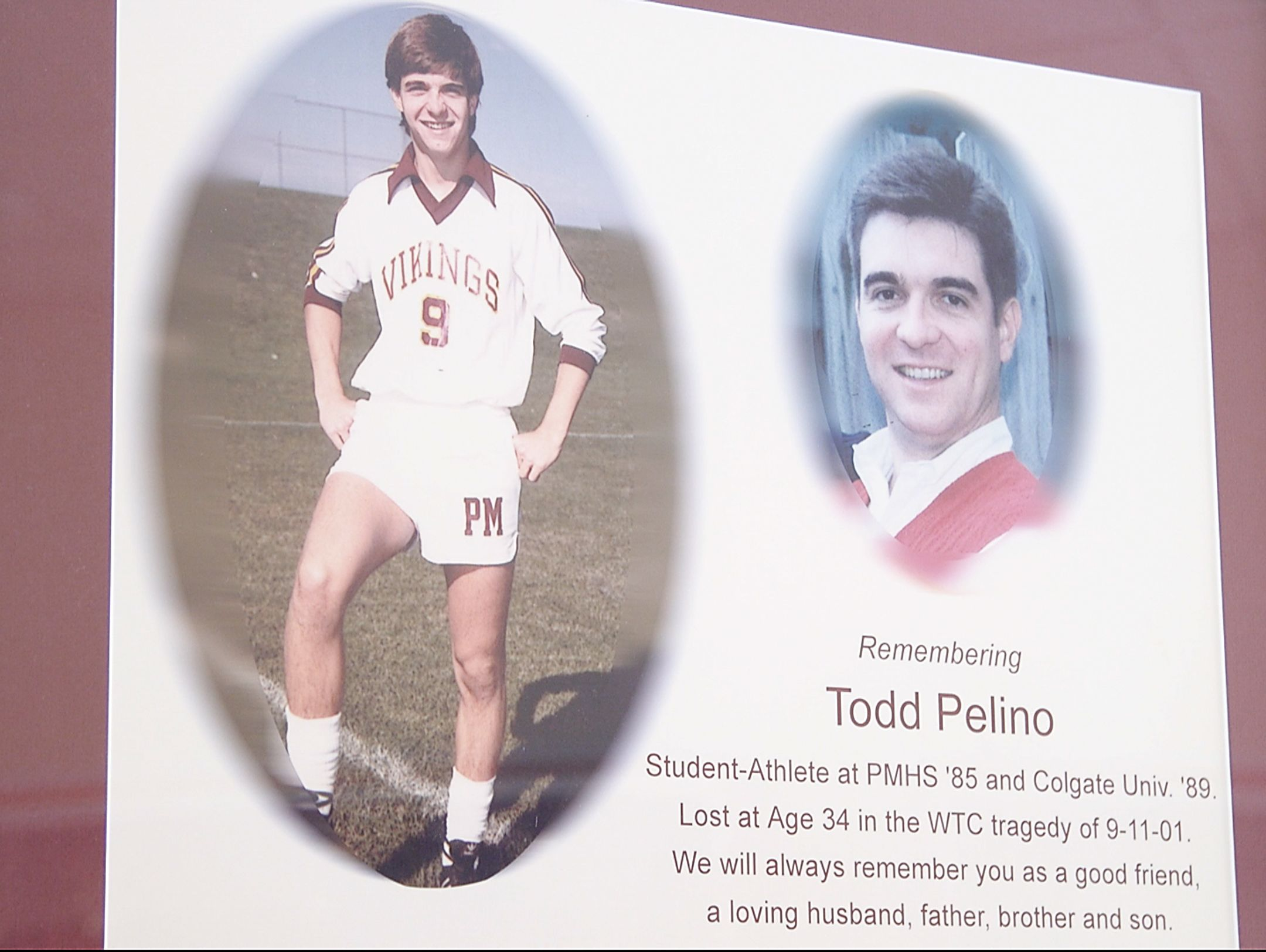 Todd Pelino Memorial at Pittsford Mendon High School. Pelino was killed in the Sept. 11 attacks on the World Trade Center.