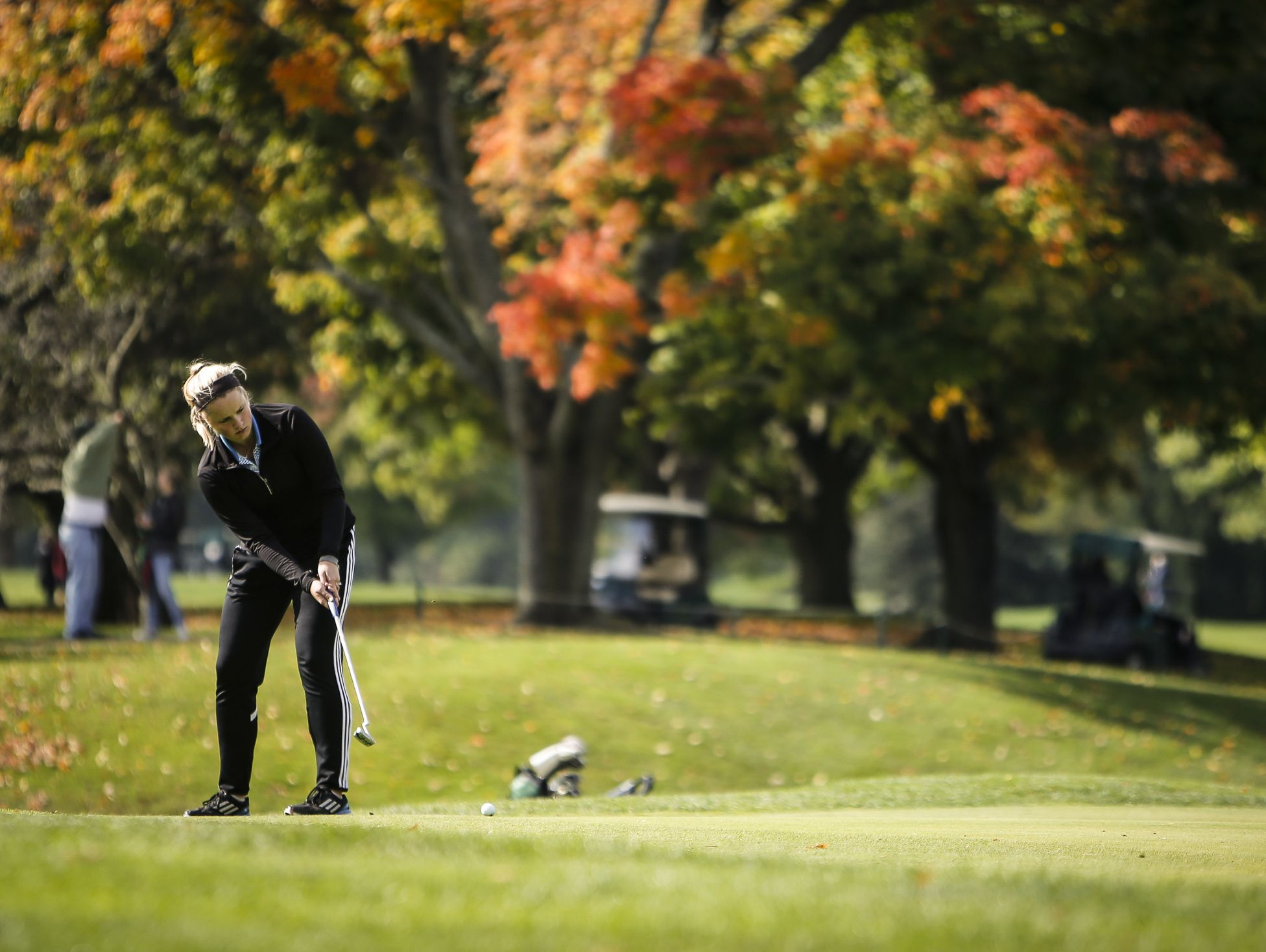 Lansing Catholic senior Abigail Meder works the fourth green during the Div. 4 Girls Golf Finals October 15, 2016, at Forest Akers West at Michigan State University.