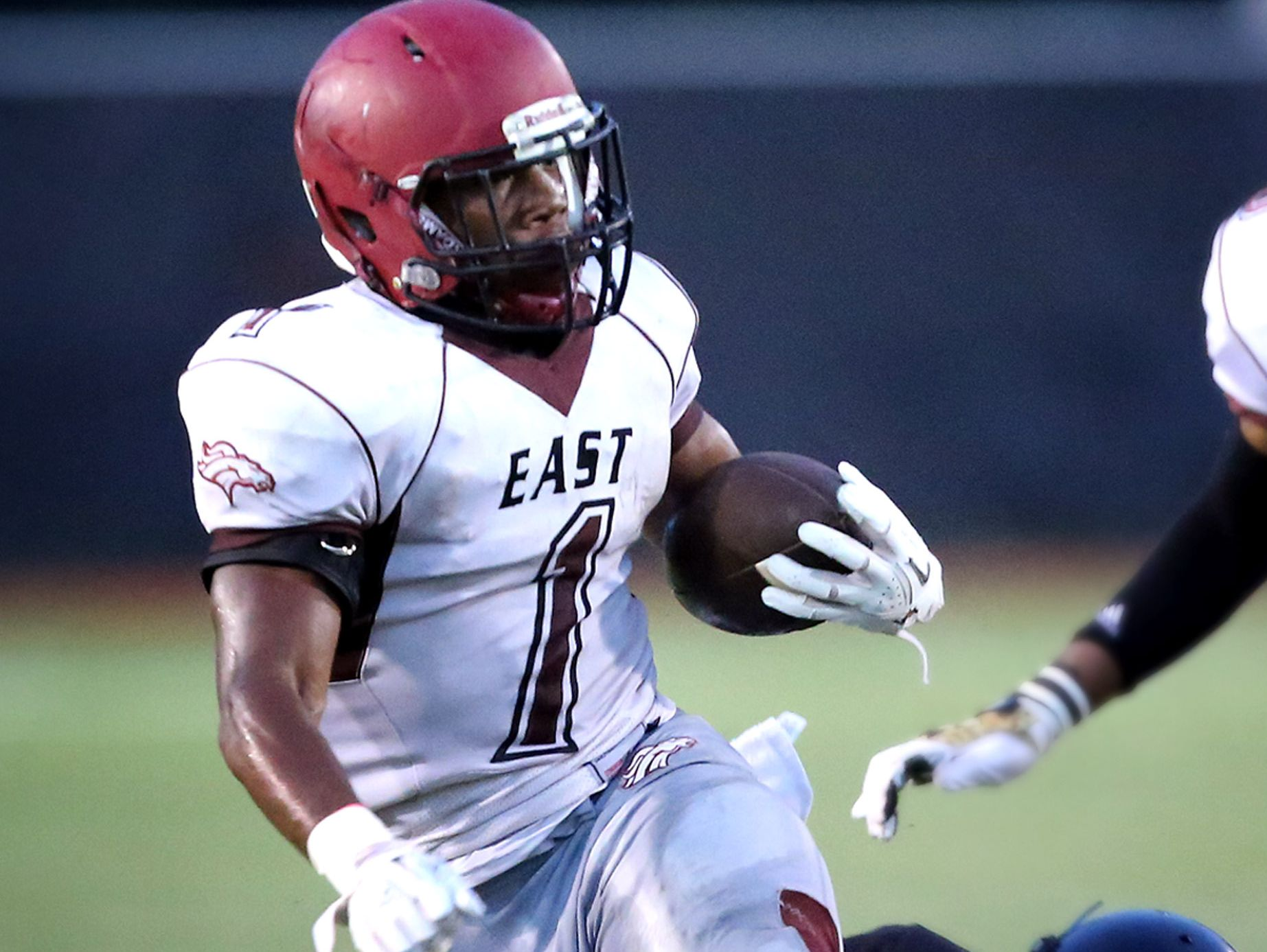 East's Timothy Taylor (shown here earlier in the season) ran for 260 yards and scored four touchdowns for the Mustangs last Friday.