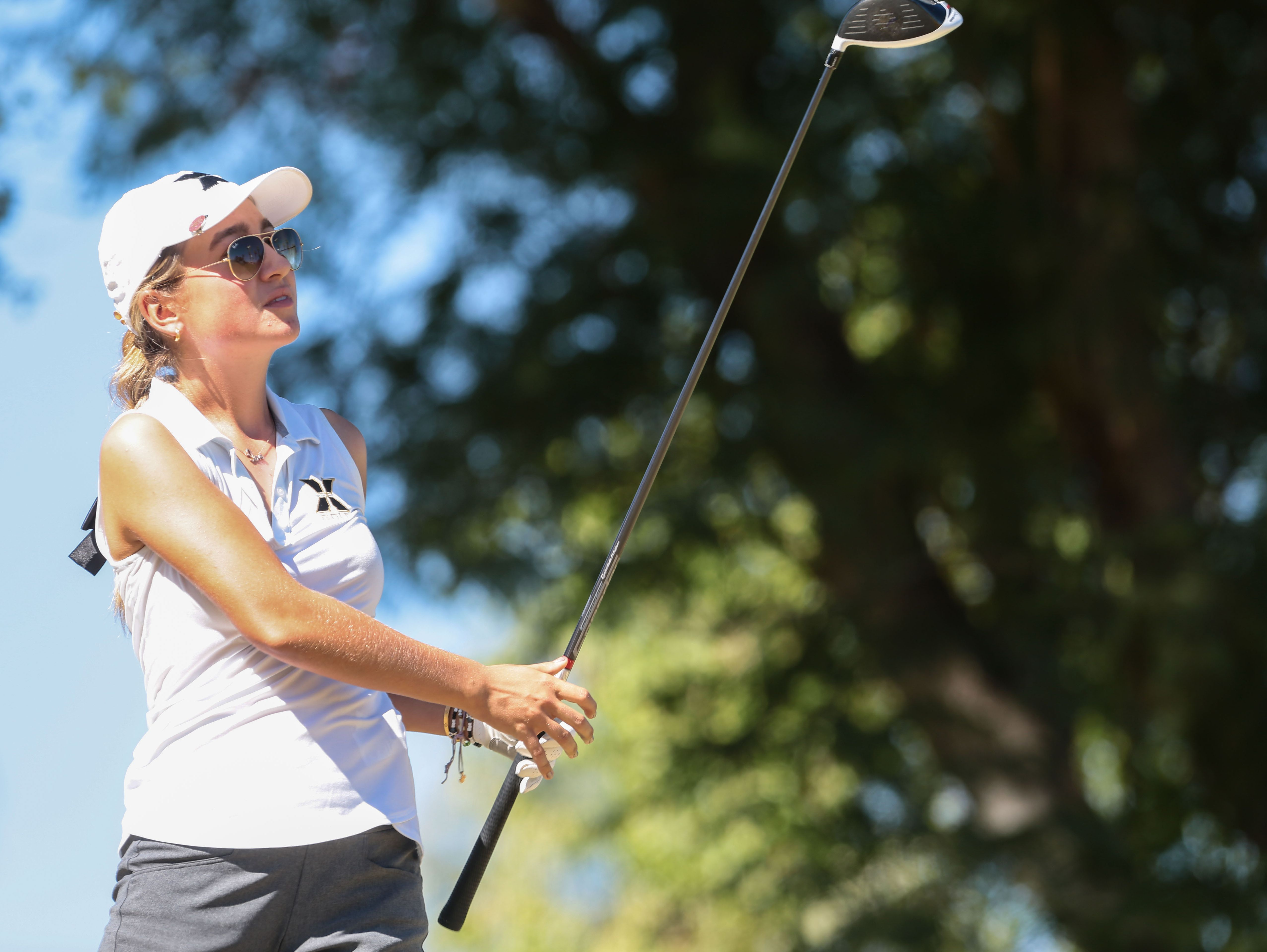 Xavier Prep's Vera Markevich tees off on the 10th hole during the Desert Valley League girls' golf individual finals on Thursday, October 20, 2016 at the JW Marriott Desert Springs Resort in Palm Desert.