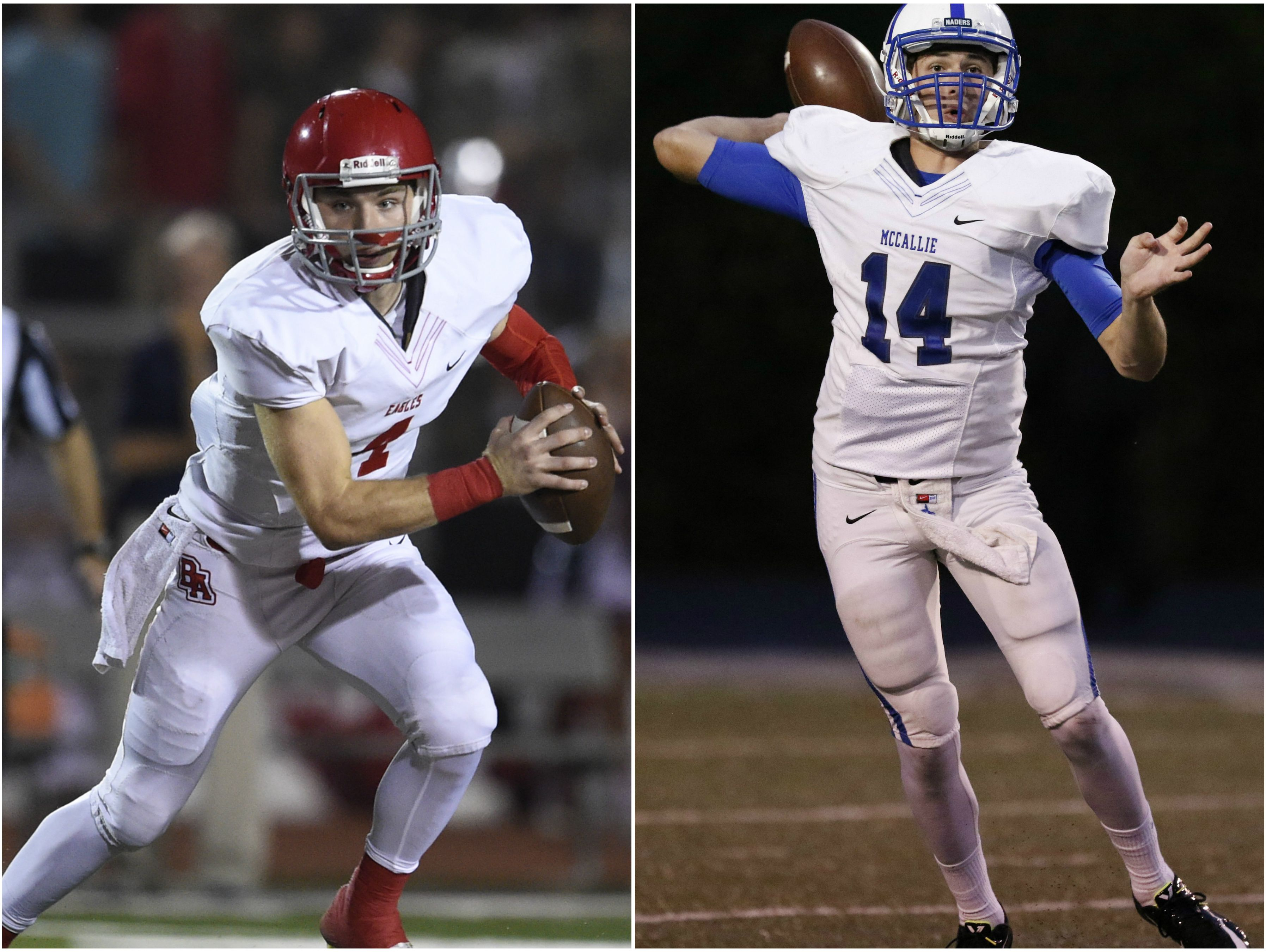 Brentwood Academy quarterback Jeremiah Oatsvall (left) and McCallie quarterback Robert Riddle (right)