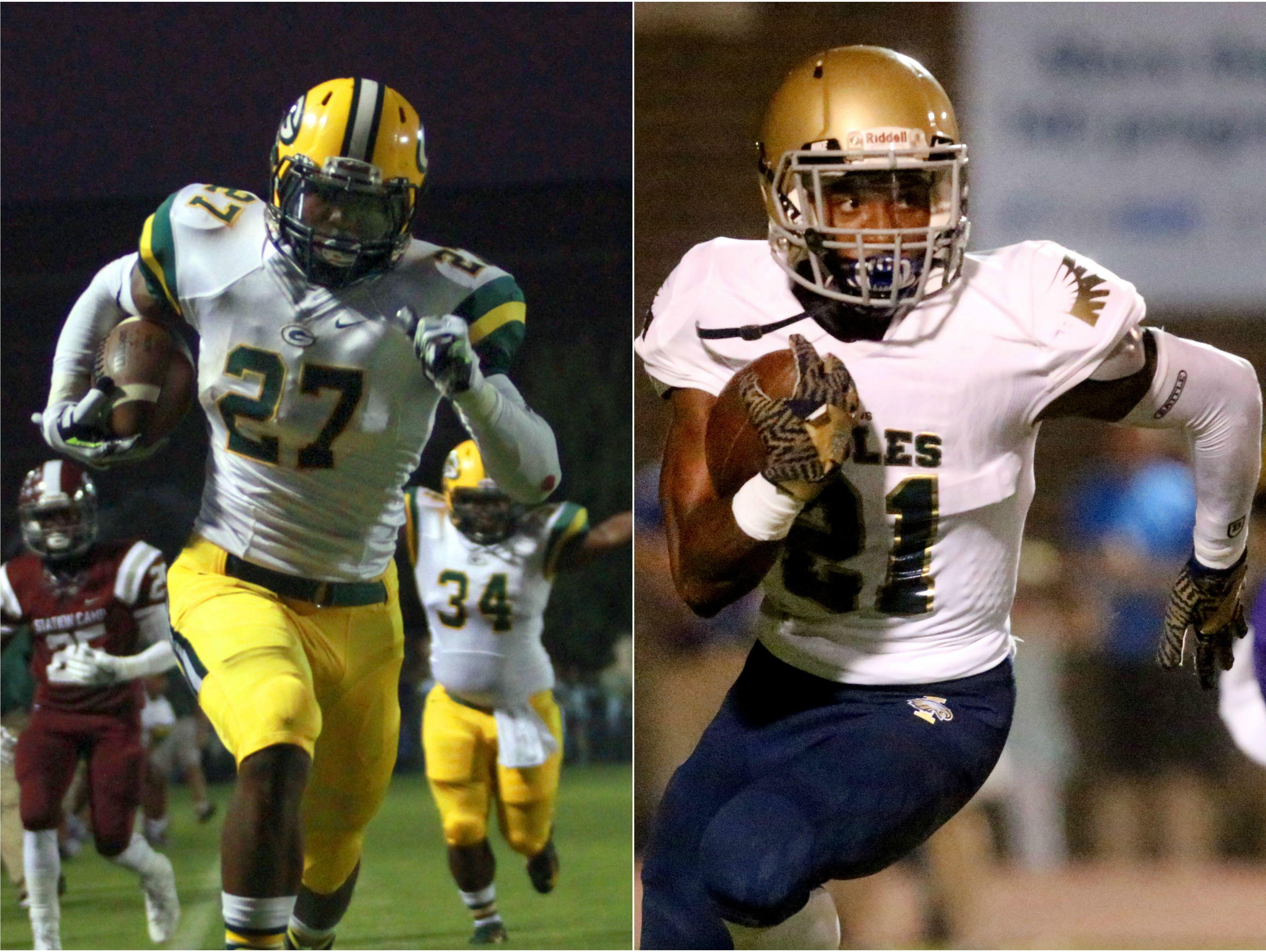 Gallatin running back Jordan Mason (left) and Independence running back Troy Henderson (right)
