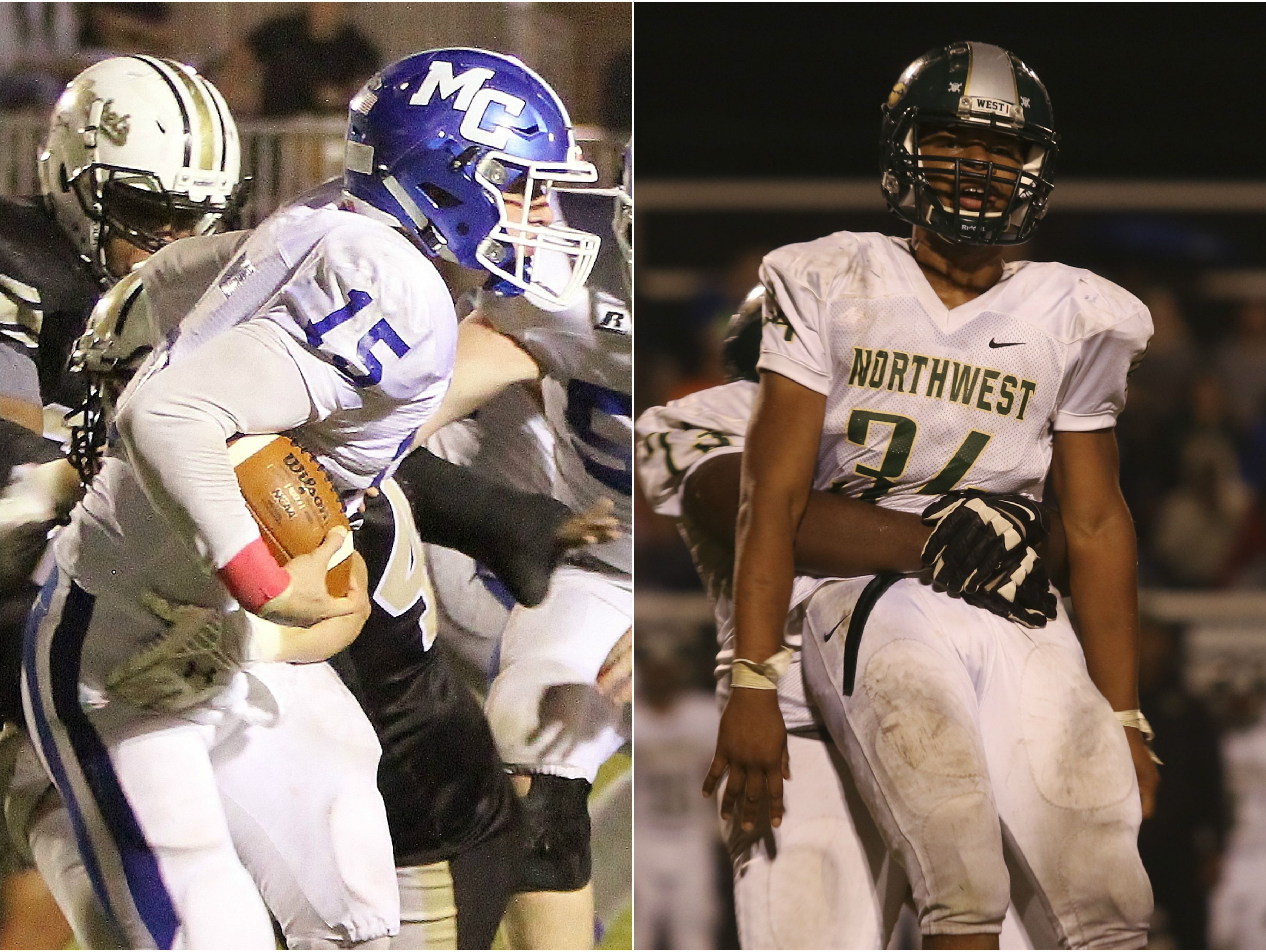 Macon County quarterback Seth Carlisle (left) and Clarksville Northwest linebacker Jaylen Jackson (right)
