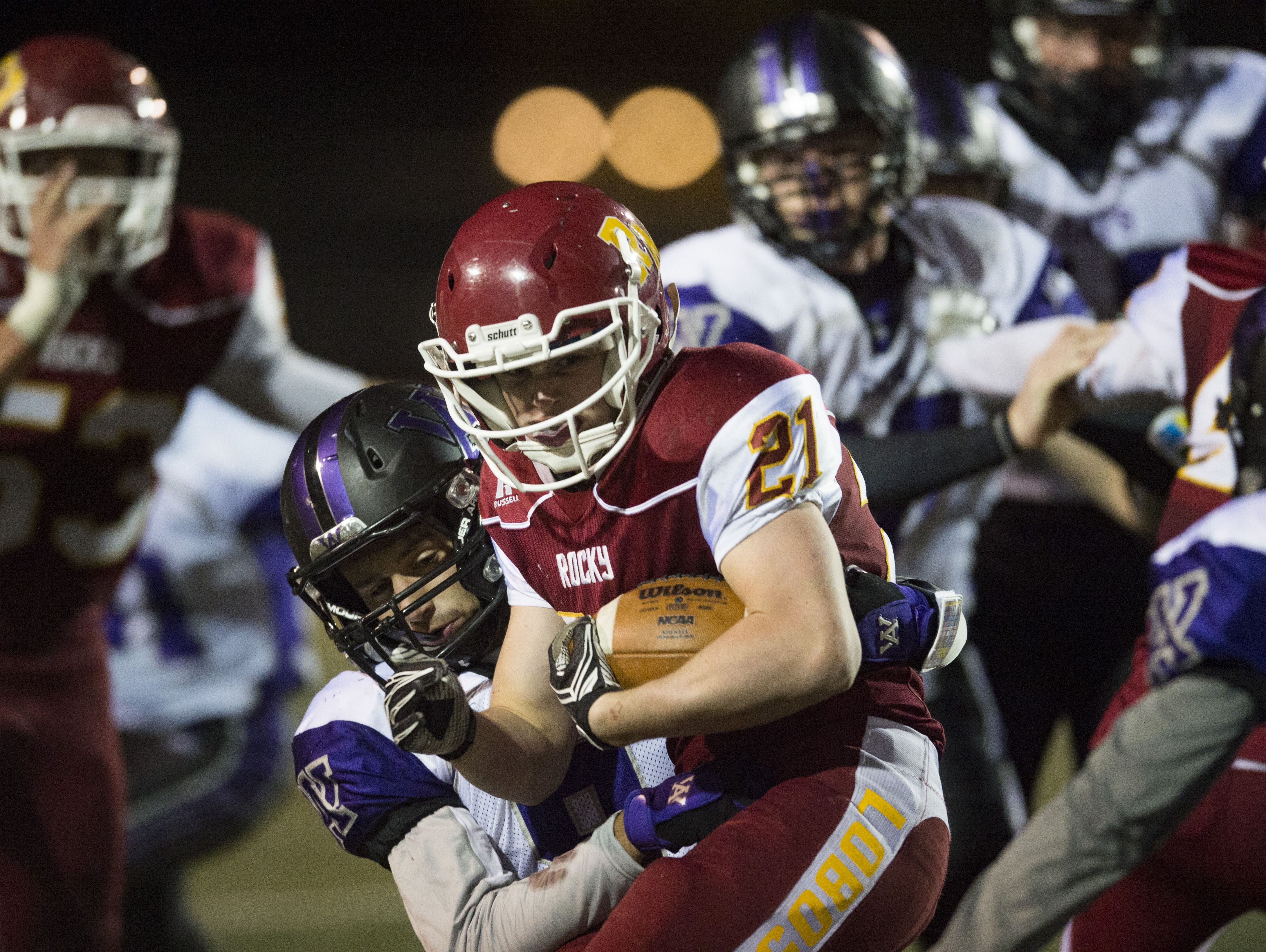 Ryan Hutcheson of Rocky Mountain High School carries the ball in a game earlier this season. The Lobos host Ralston Valley at 7 p.m. Friday.