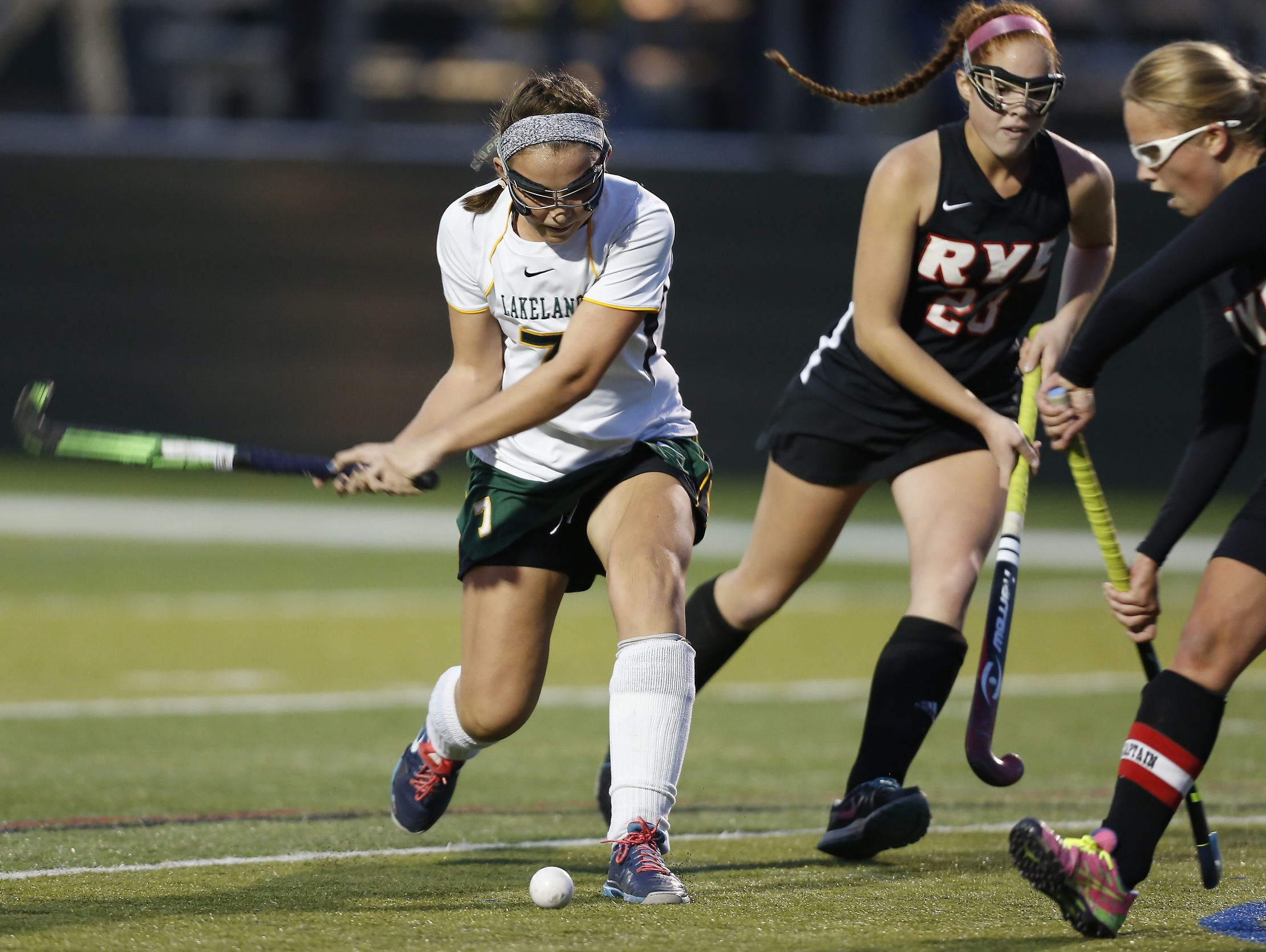 Lakeland's Caroline Cahil (7) scores from a corner during their 4-1 win over Rye in the Class B field hockey sectiion finals at Brewster High School on Tuesday, November 1, 2016.