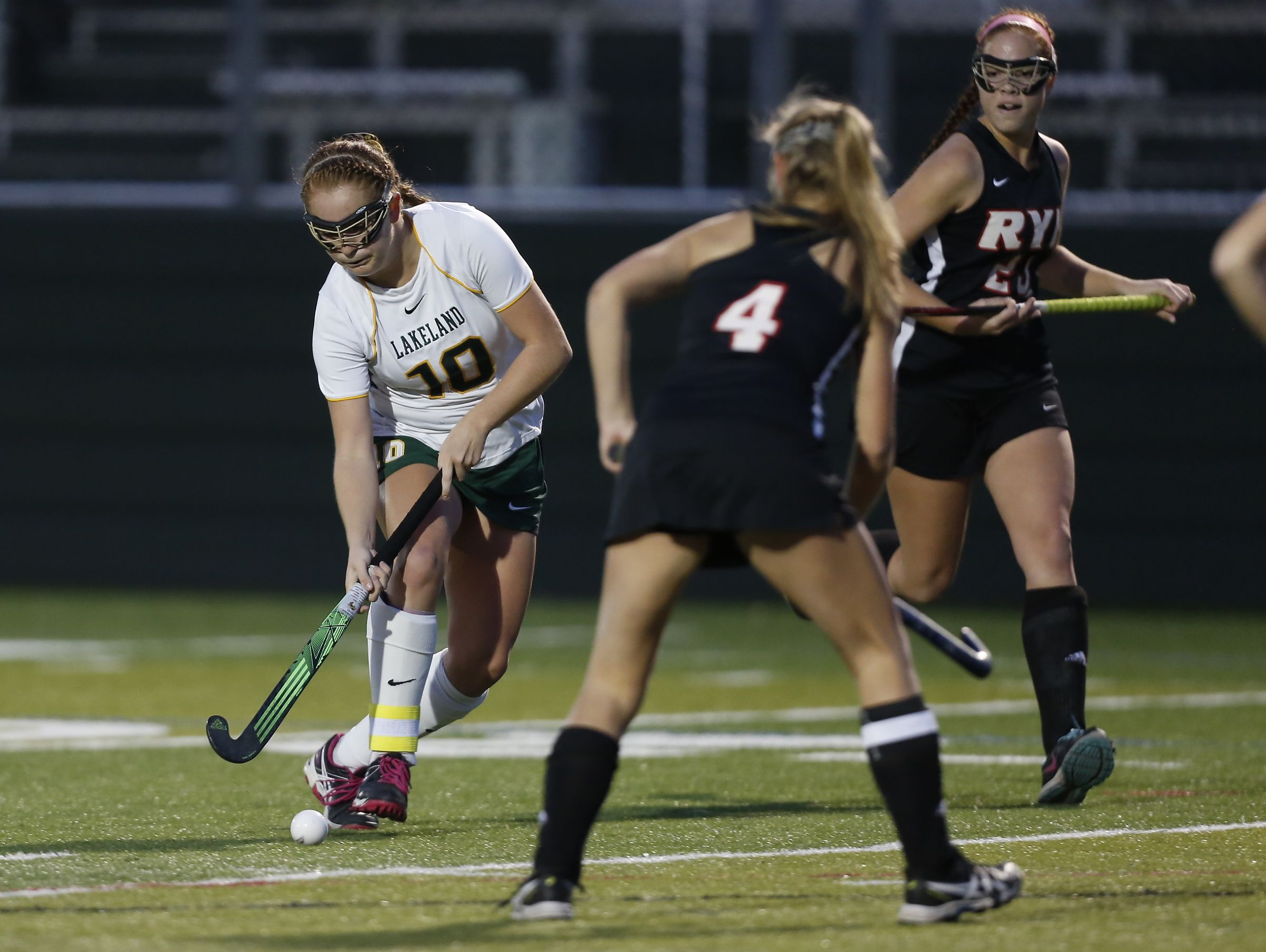 Lakeland's Meghan Fahey (10) works the ball into the Rye defense during their 4-1 win over Rye in the Class B field hockey section finals at Brewster High School on Tuesday, November 1, 2016.