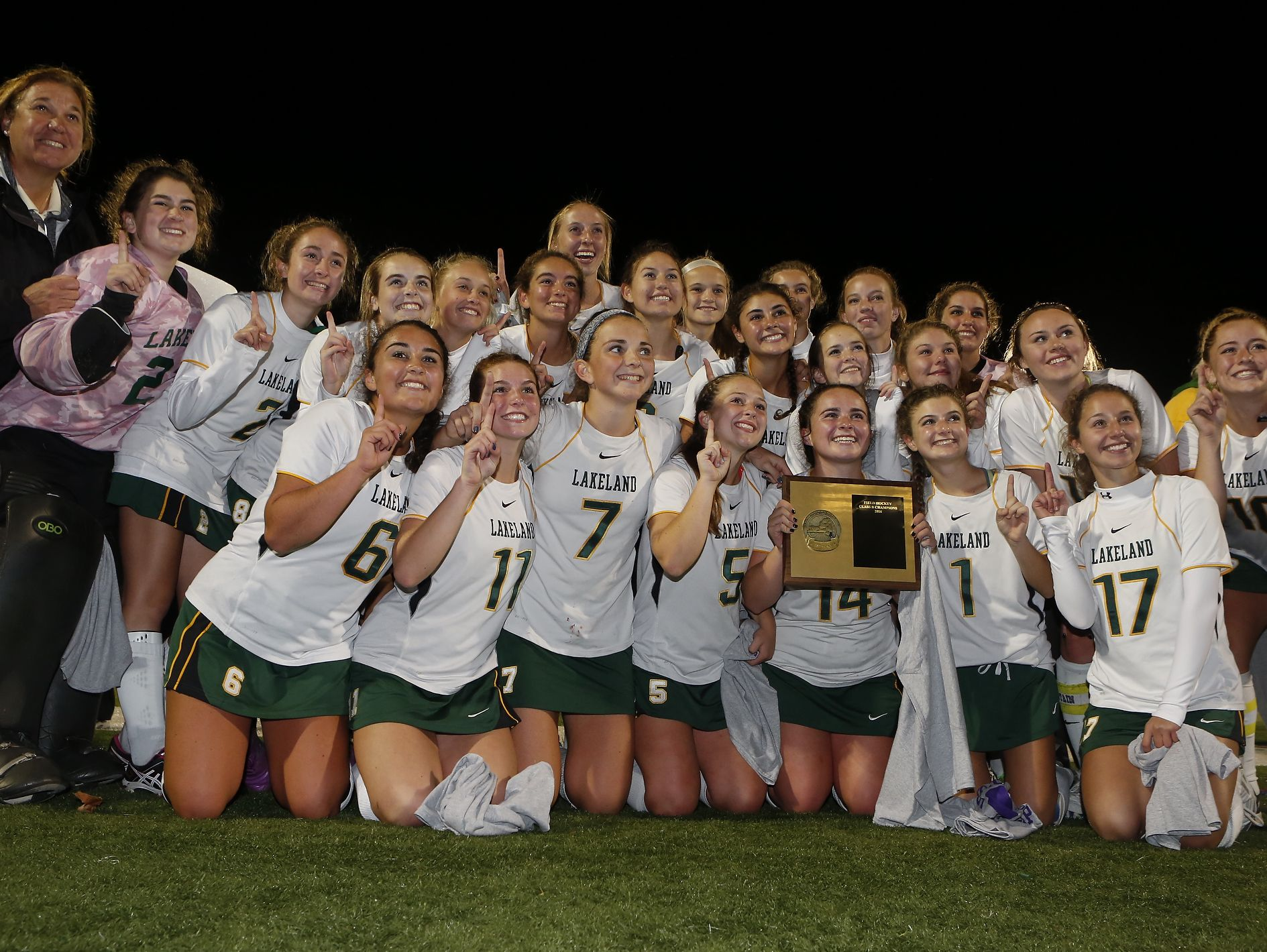 Lakeland players celebrate their 4-1 win over Rye in the Class B field hockey section finals at Brewster High School on Tuesday, November 1, 2016.