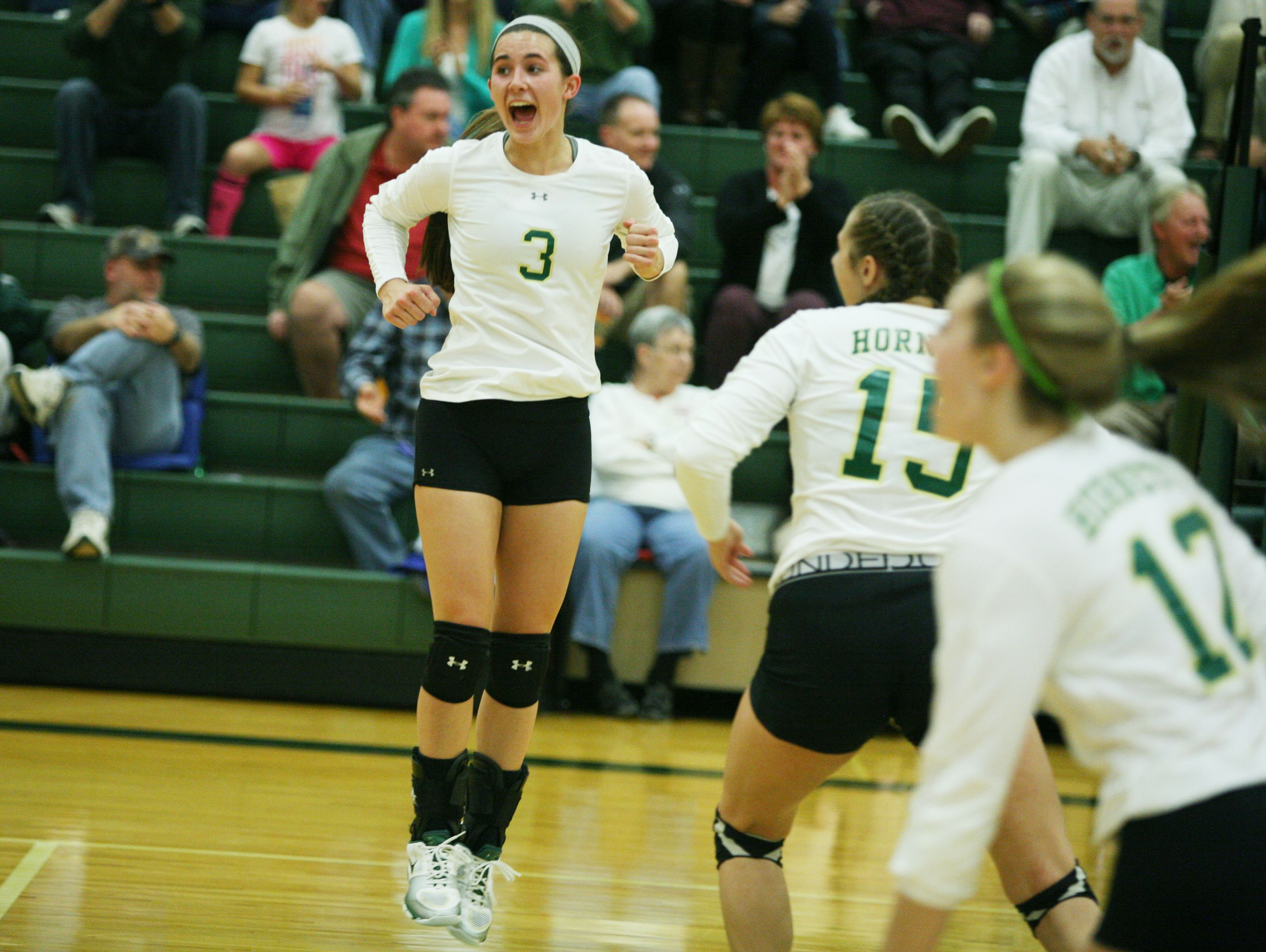 Wilson Memorial's Hannah Johnson celebrates as the Green Hornets win the first game against East Rockingham during the Conference 36 quarterfinal match at Wilson Memorial in Fishersville on Tuesday, Nov. 1, 2016.