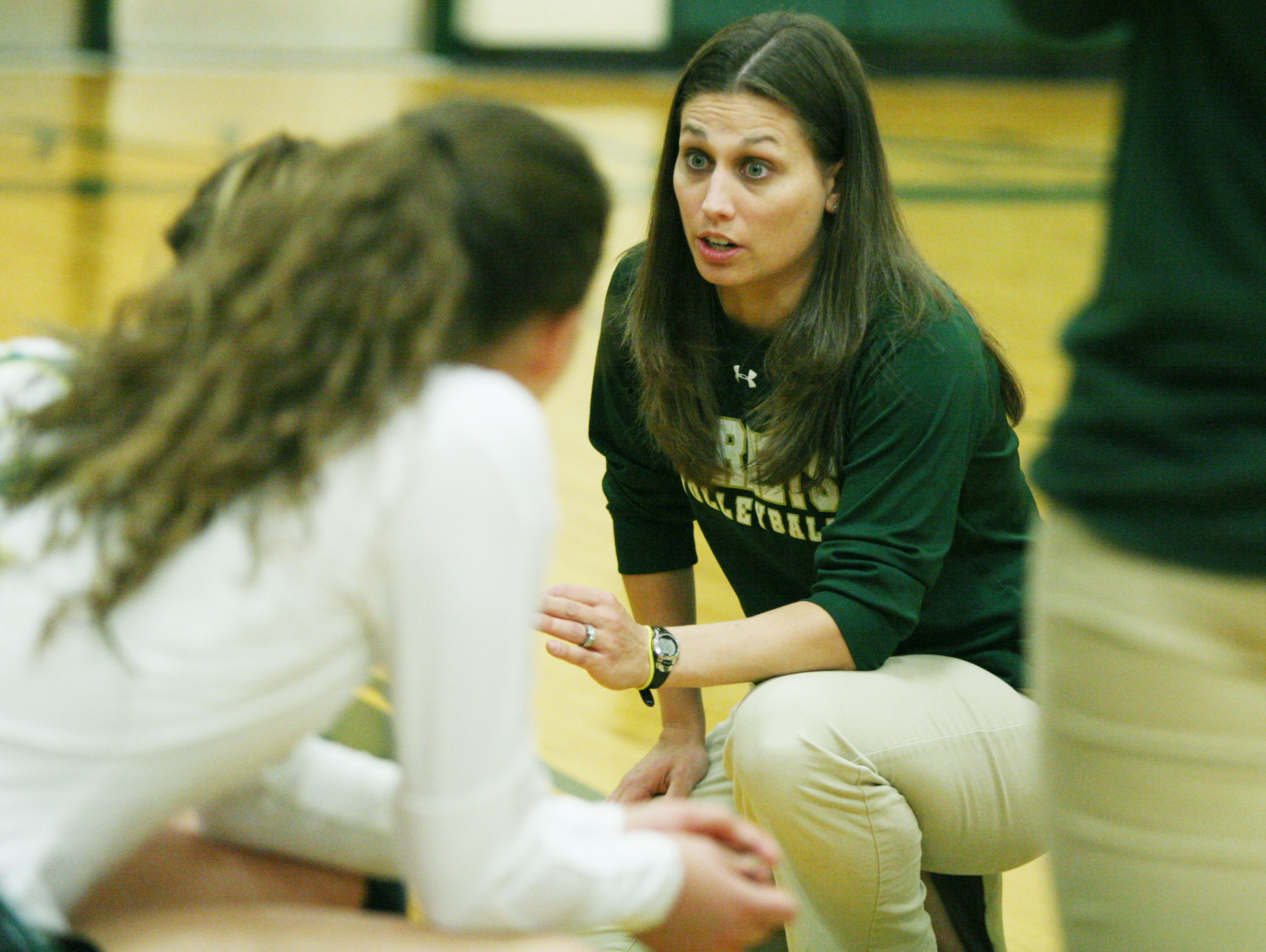 Wilson Memorial head coach Lauren Grove meets with the team during a time-out at the Conference 36 quarterfinal match against East Rockingham at Wilson Memorial in Fishersville on Tuesday, Nov. 1, 2016.