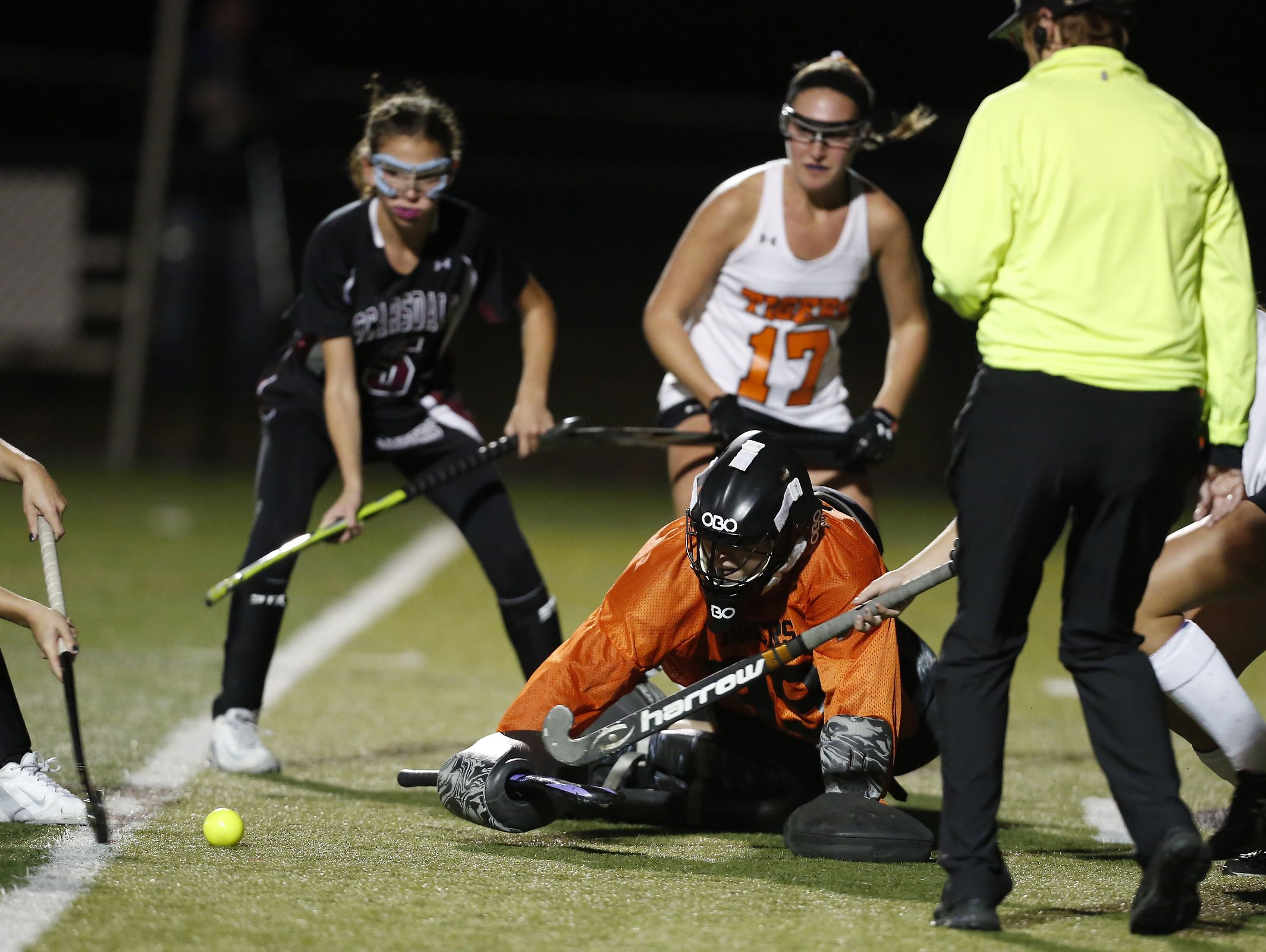 Mamaroneck goalie Charlotte Mackie (99) makes a save on a corner in the Class A field hockey section finals at Brewster High School on Tuesday, November 1, 2016.