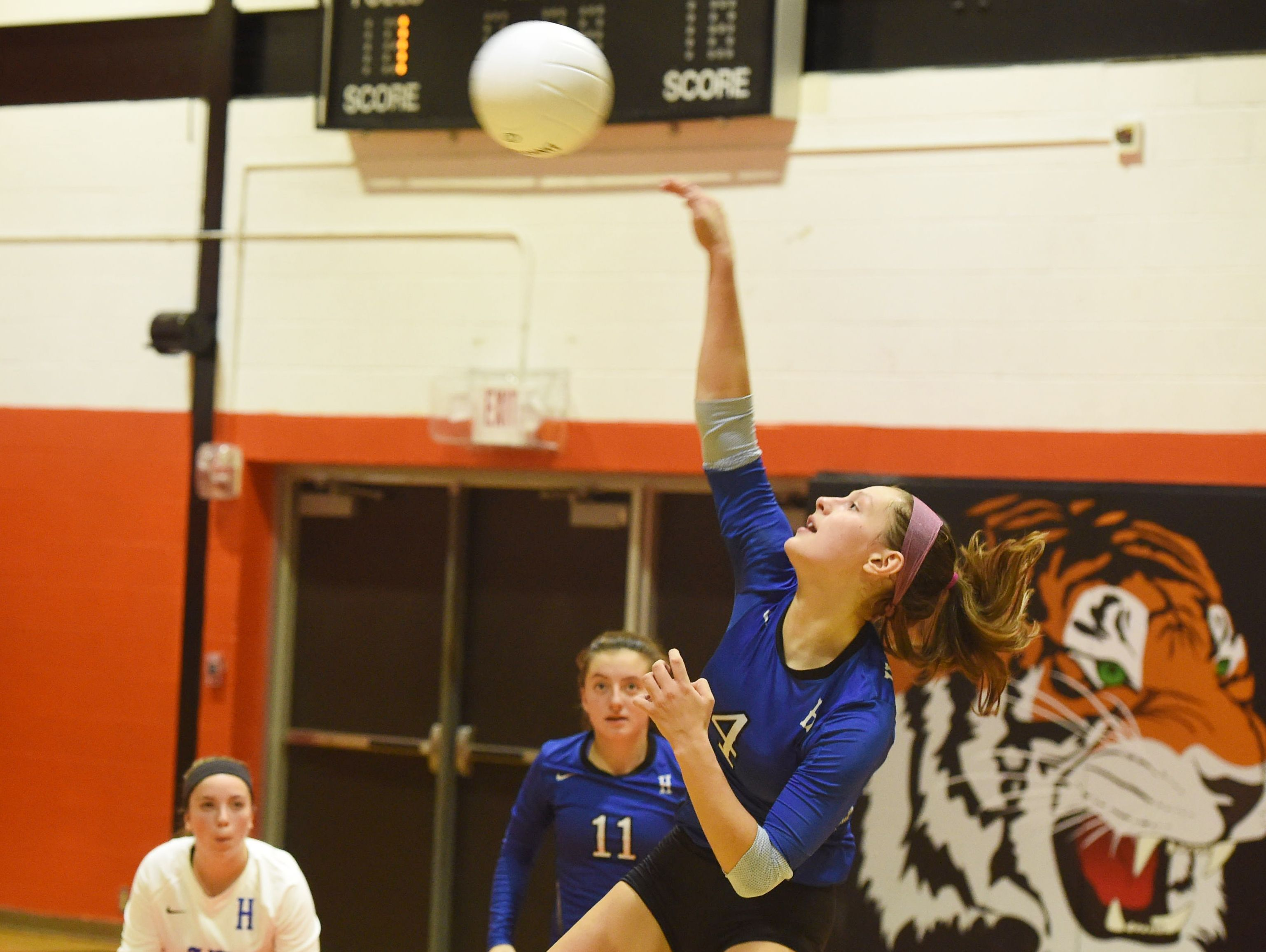Haldane's Brooke Vahos hits the ball towards the net during Wednesday's game against Pawling.