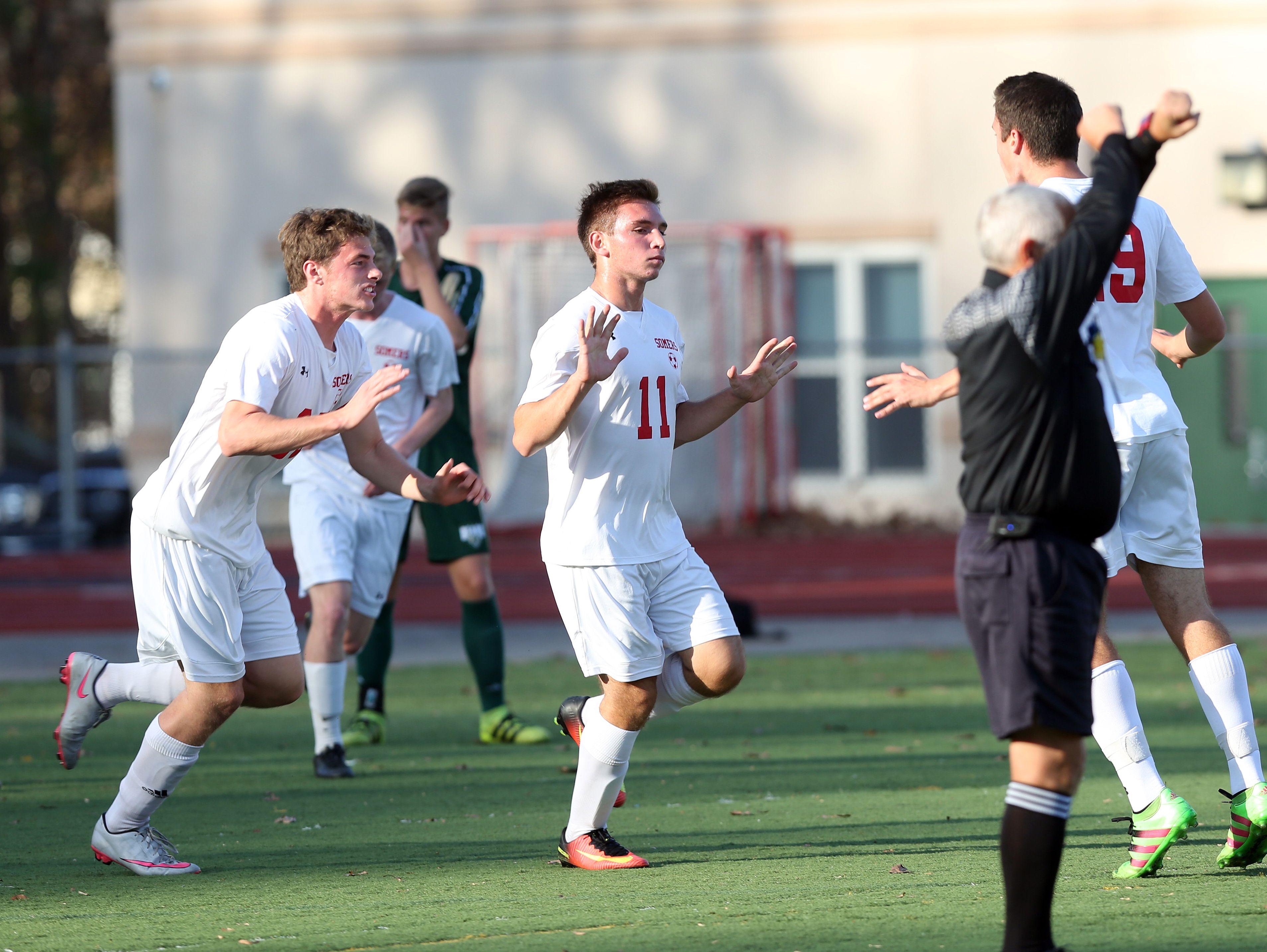 Somers defeated Vestal in the boys soccer regional semifinal at Lakeland High School in Shrub Oak Nov. 2, 2016
