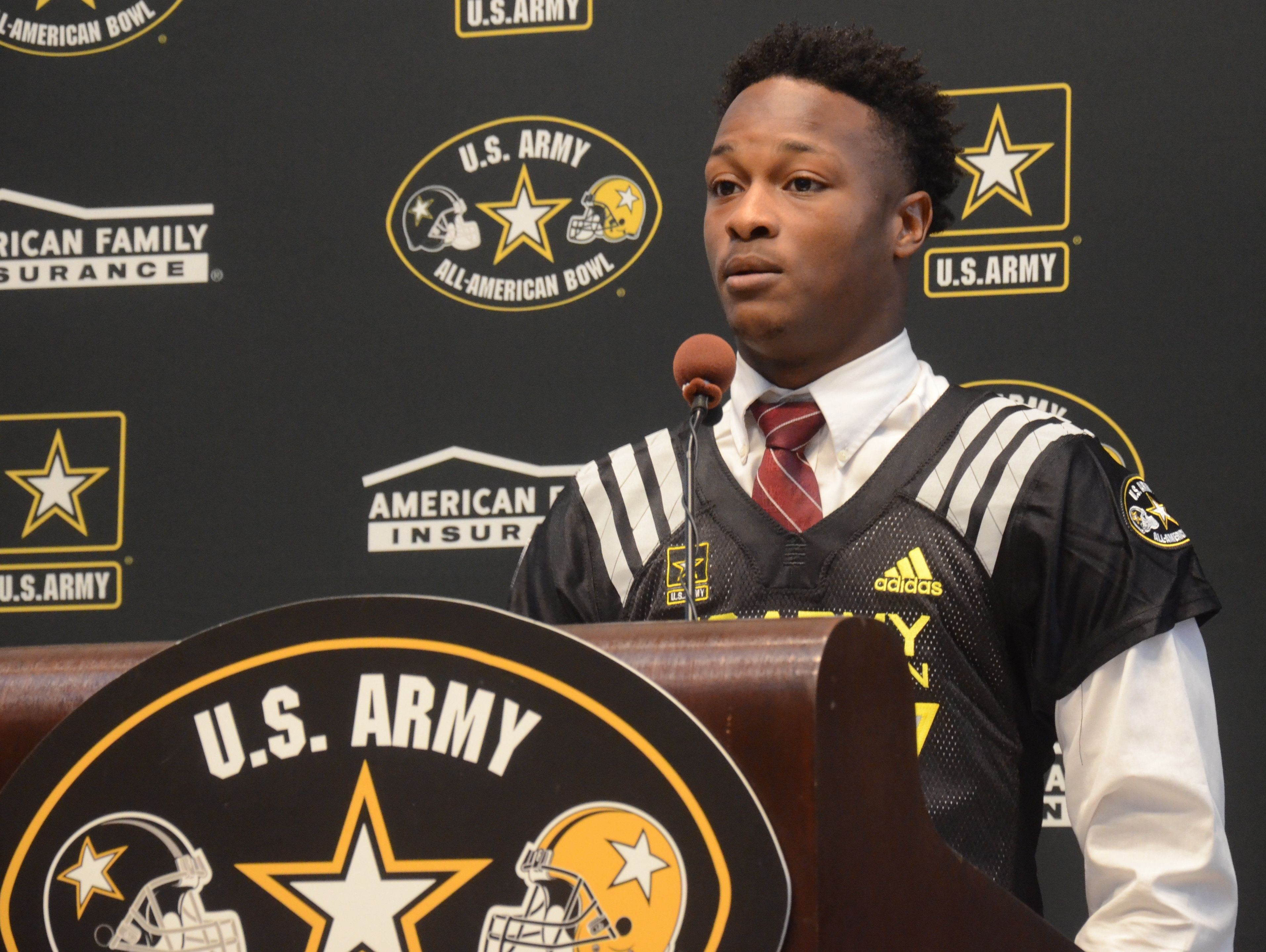 MBA running back Ty Chandler was presented with an honorary U.S. Army All-American jersey on Thursday.