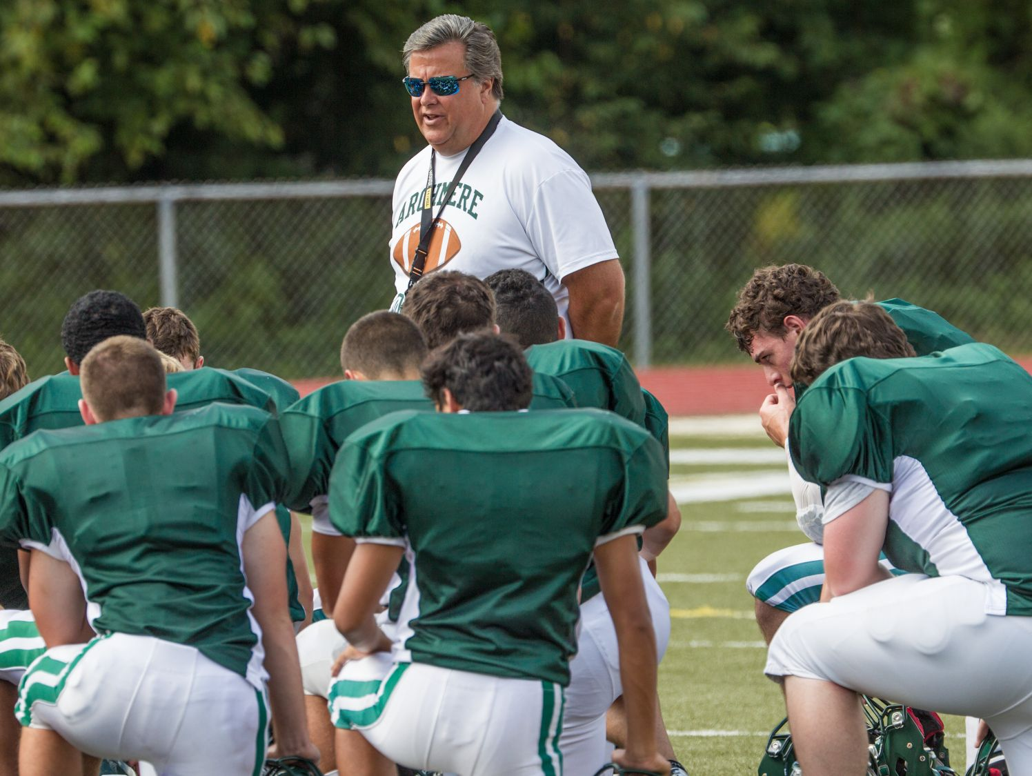 Jerry Ambrogi, shown here during a 2013 practice, earned 99 victories as Archmere's football coach and contributed countless resources to the school.