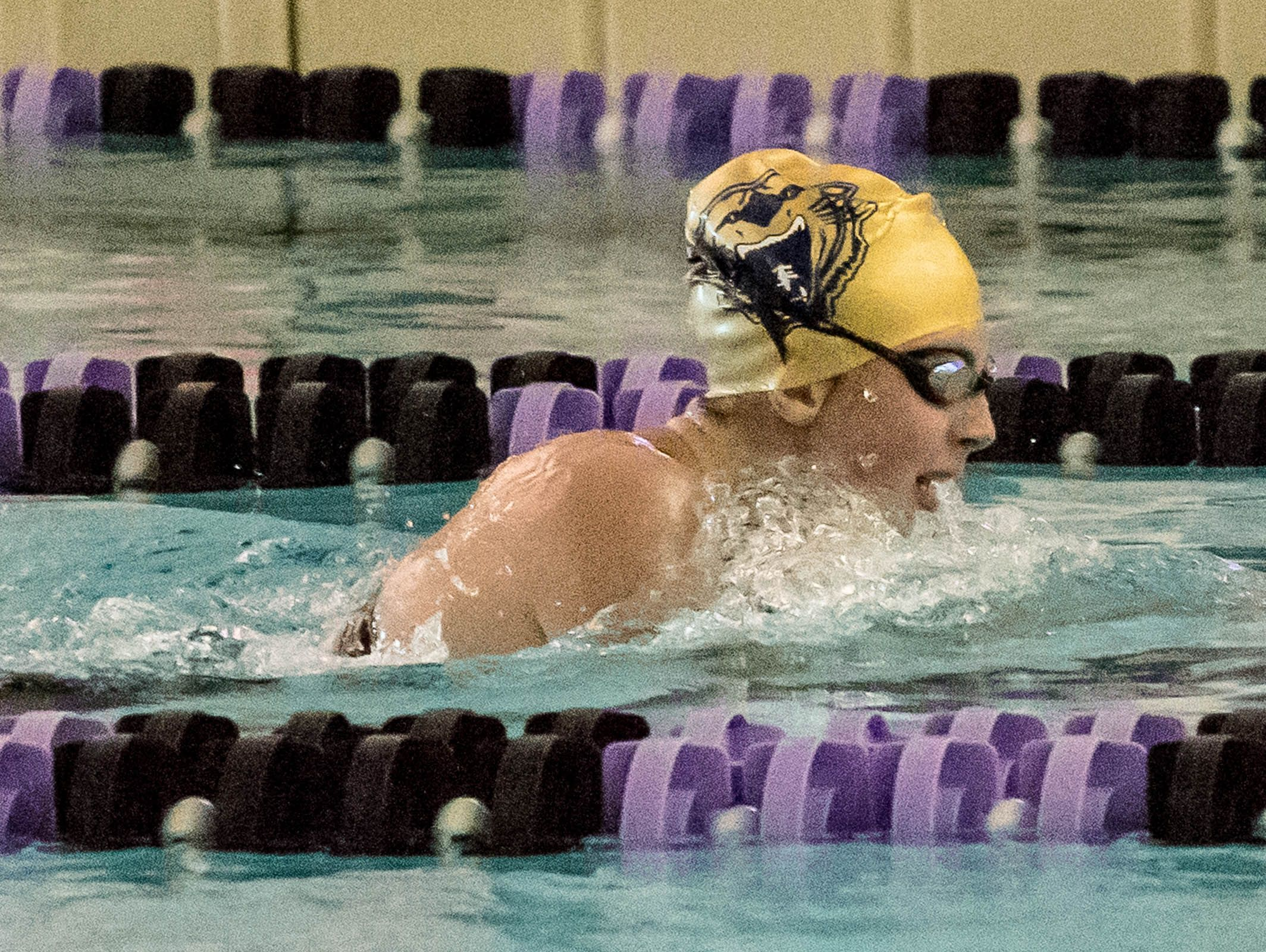 Battle Creek Central's Emily Meyers swims in the 200 Yard IM on the first day of the SMAC Girls 2016 Swim Meet on Friday.